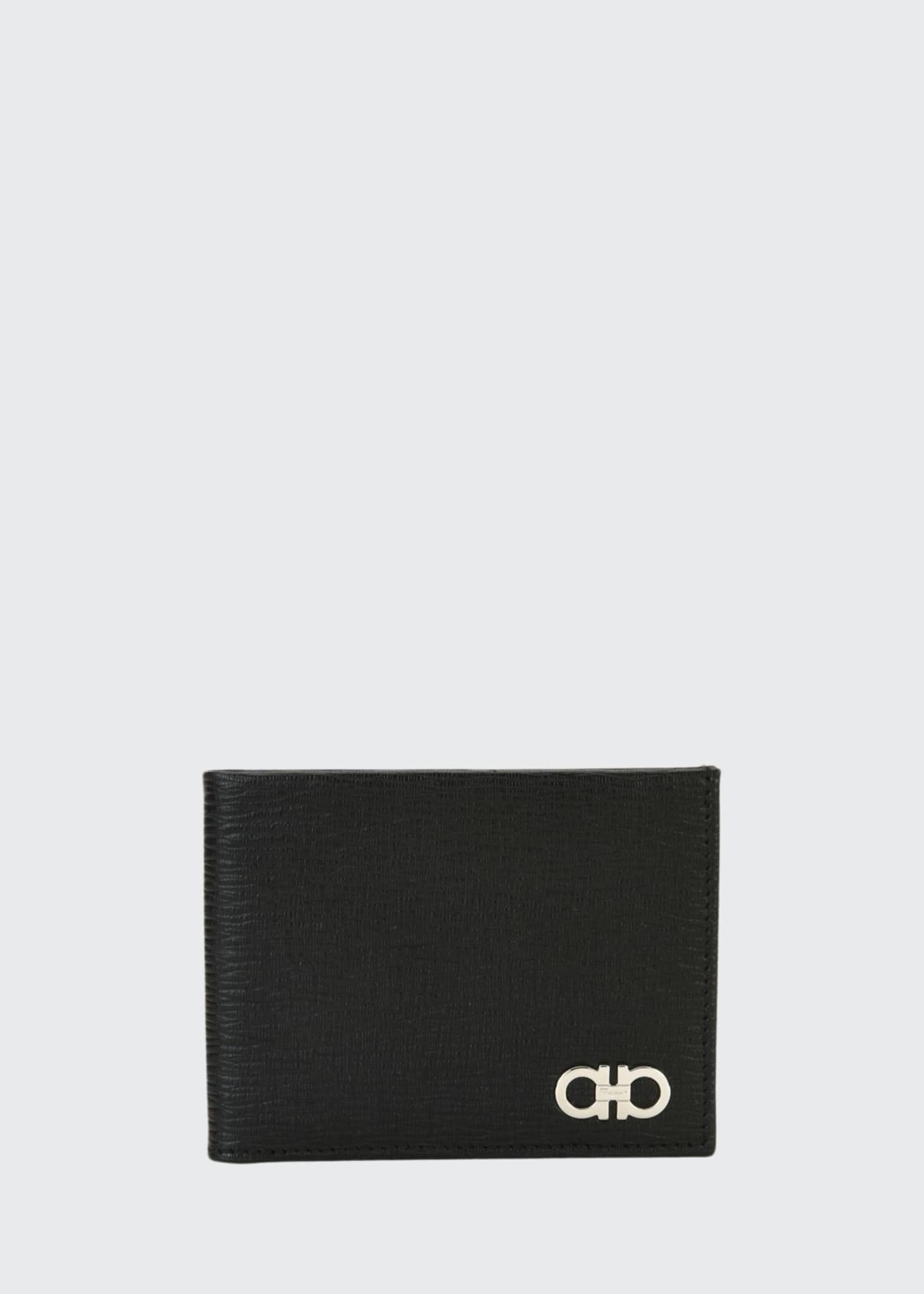 Image 1 of 3: Men's Revival Gancini Bi-Fold Leather Wallet, Black/Red