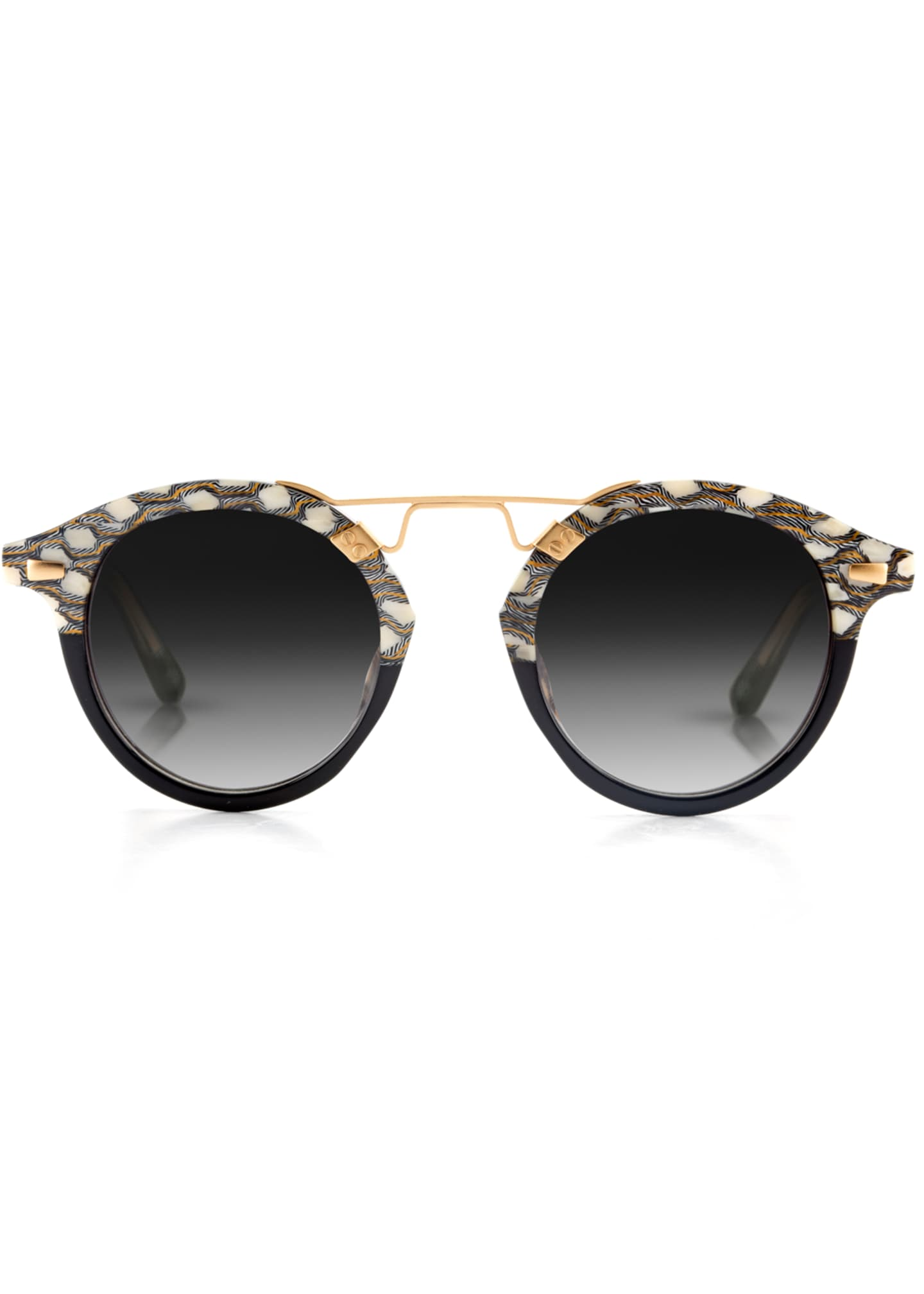 Image 2 of 2: STL II Two-Tone Round Acetate Sunglasses, Black Pattern