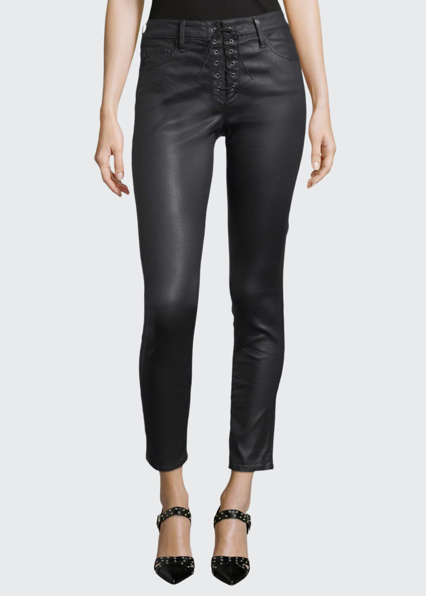 AG Adriano Goldschmied Farrah Lace-Up High-Rise Skinny Ankle