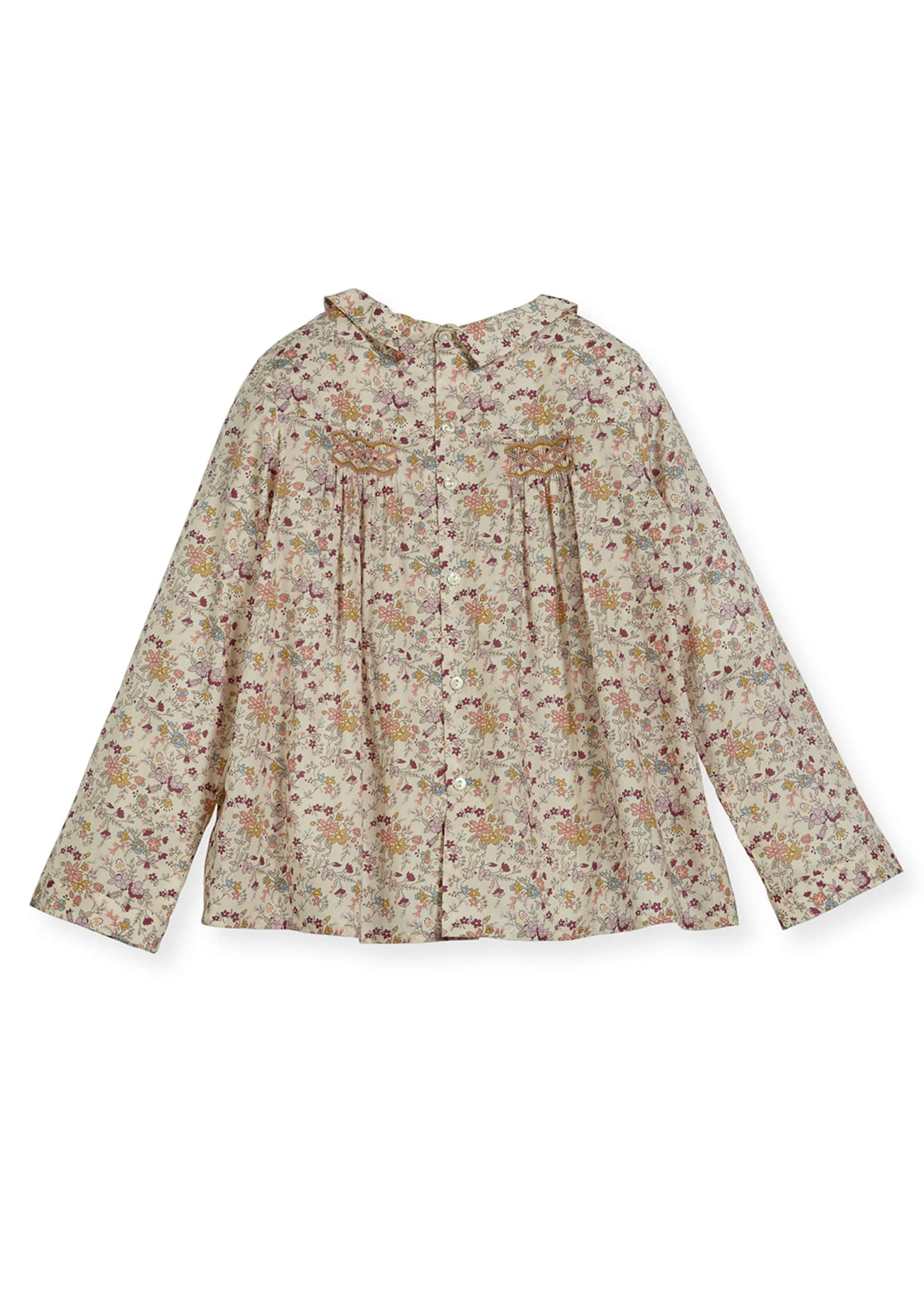 Image 2 of 2: Floral-Print Smocked Blouse, Size 3-8