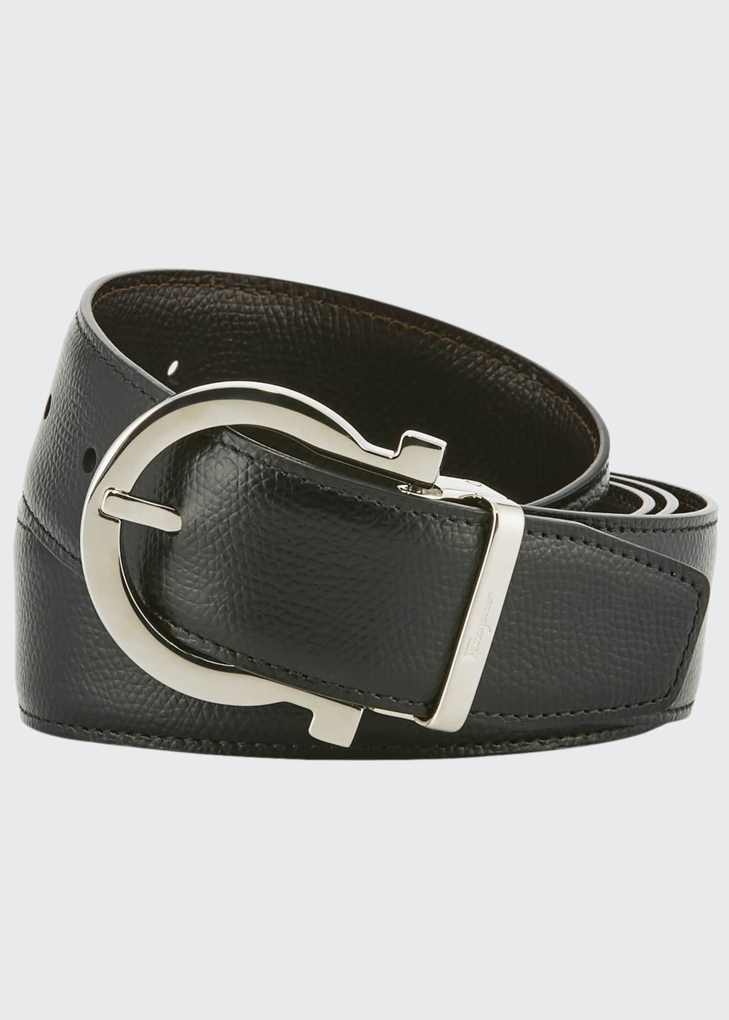 Image 1 of 1: Men's Stamped Leather Gancio Buckle Belt