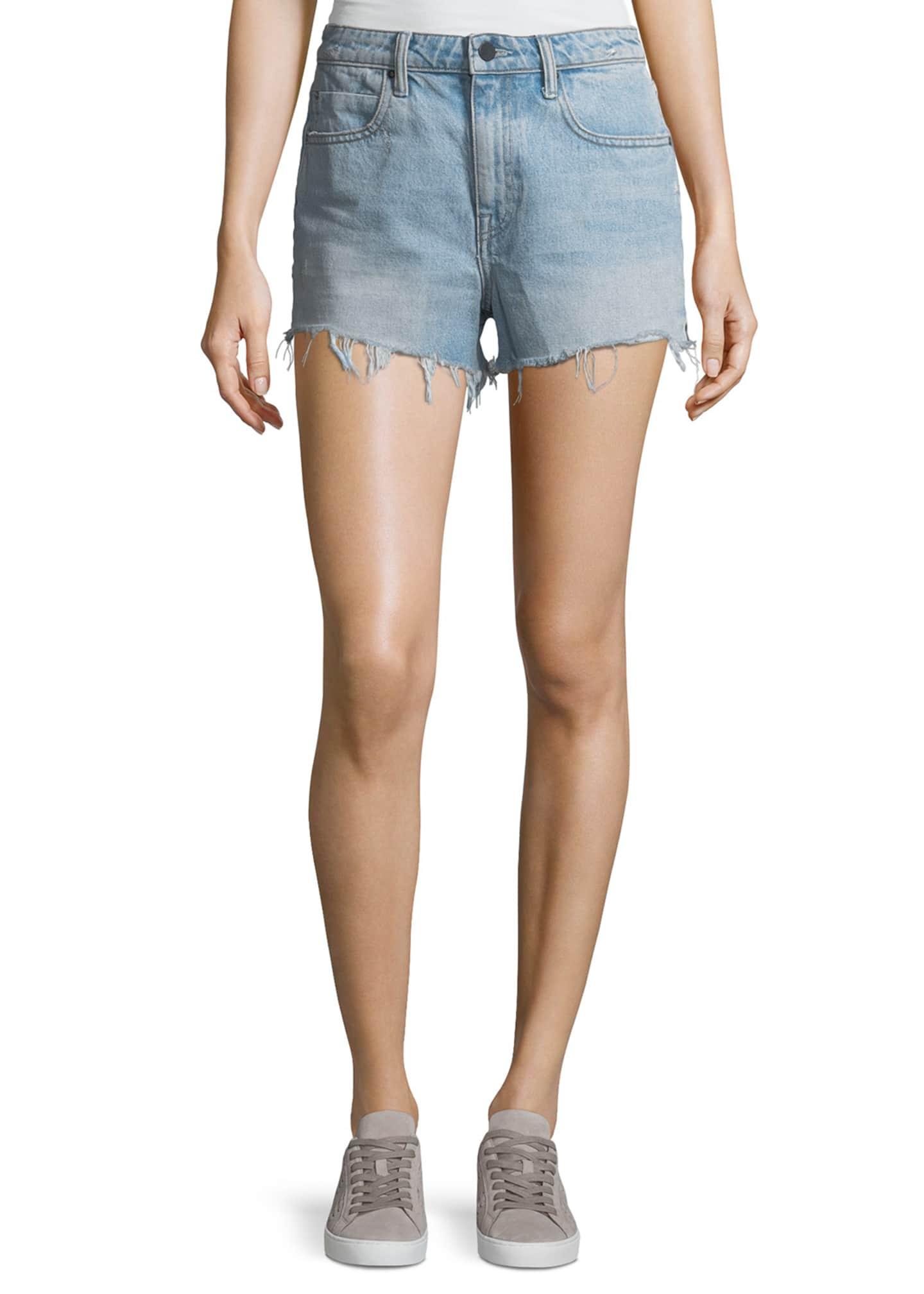 alexanderwang.t Bite Light-Wash High-Rise Cutoff Denim Shorts
