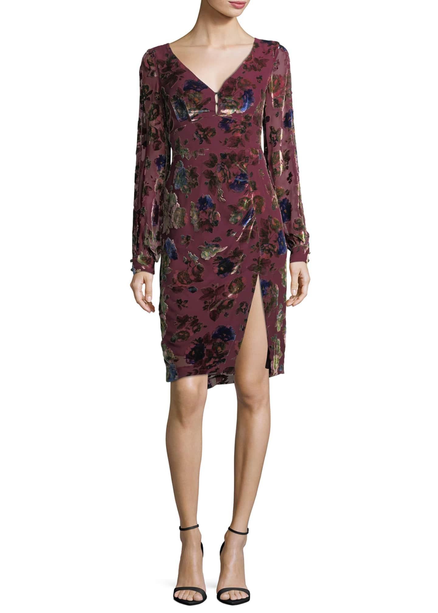 Nanette Lepore Lolita V-Neck Velvet Floral-Burnout Day Dress
