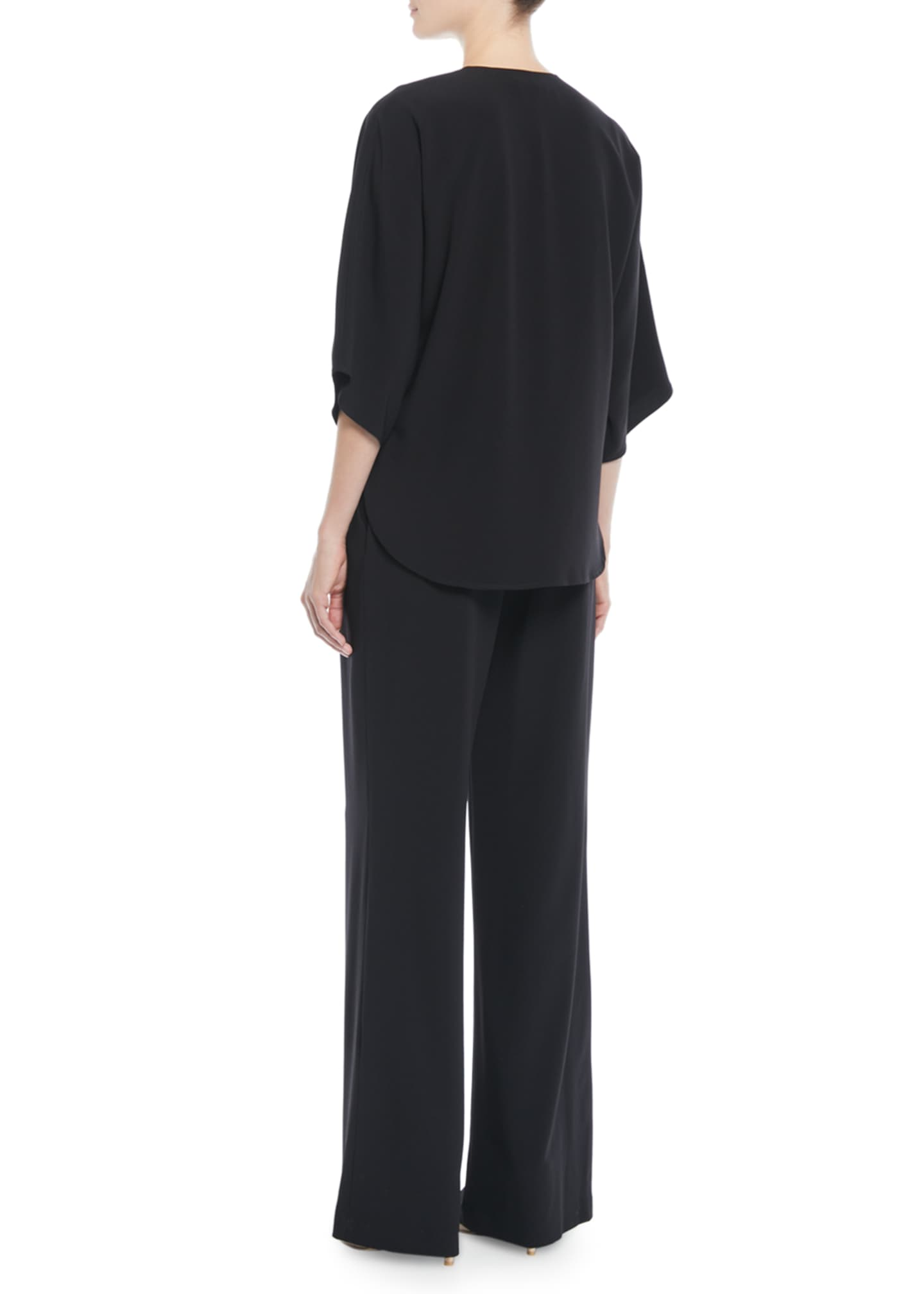 Image 2 of 2: Wide-Leg 3/4-Sleeve Wrap-Front Jumpsuit w/ Tie Waist