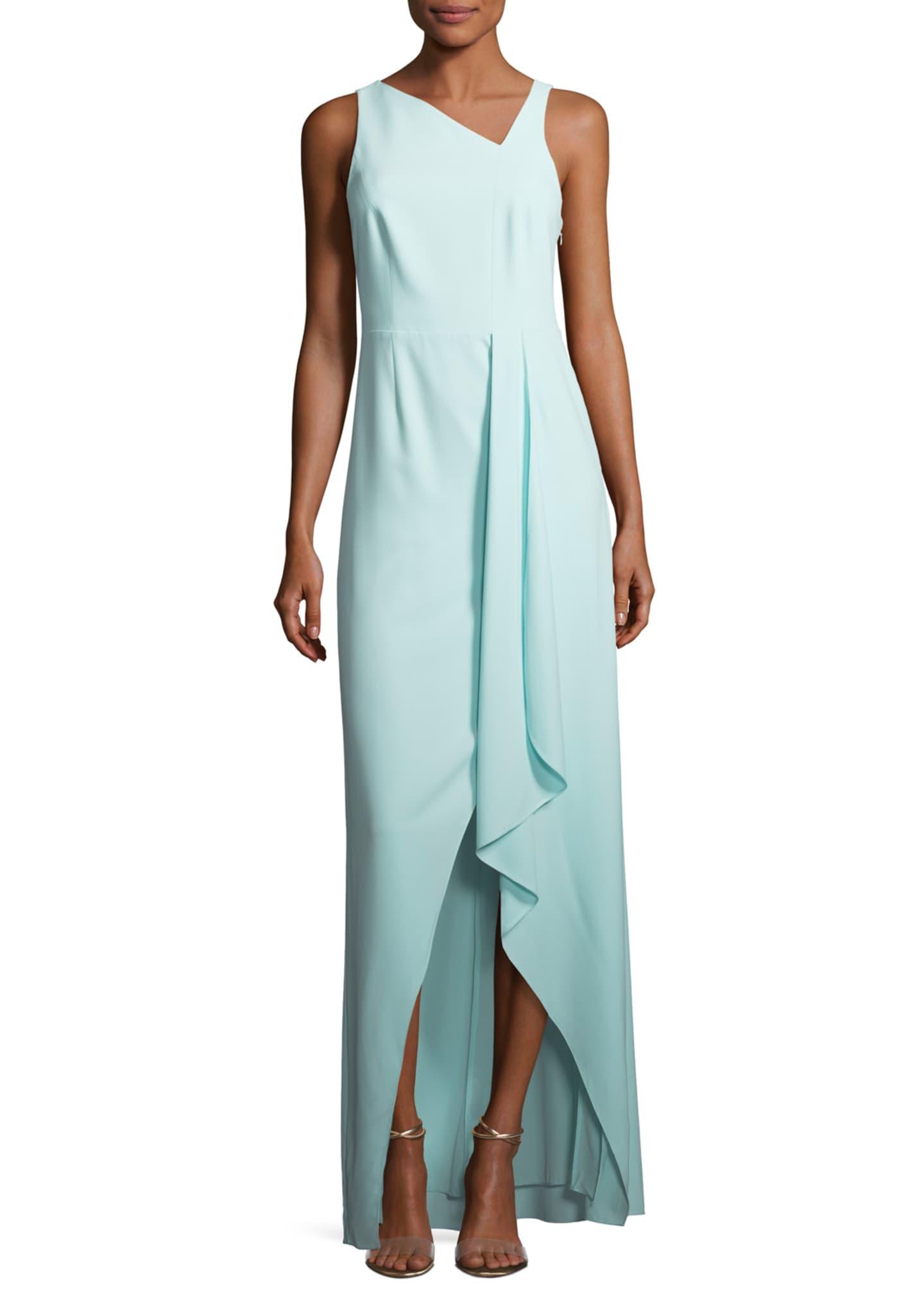 Halston Heritage Sleeveless Asymmetric-Neck Evening Gown w/ Flowy