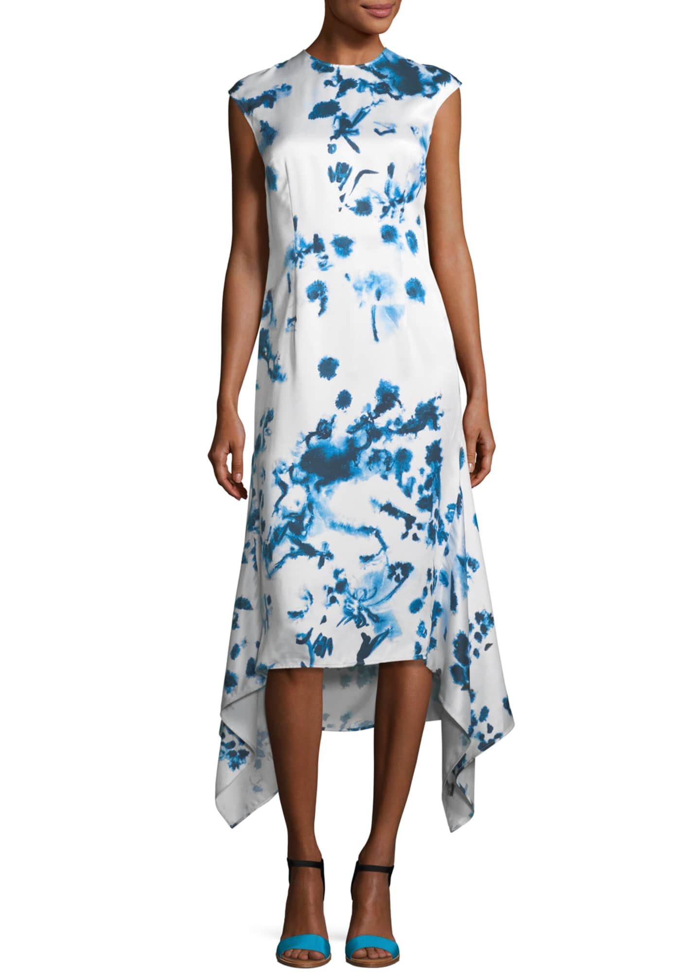 Cedric Charlier Tie Dye Print Cap-Sleeve Dress
