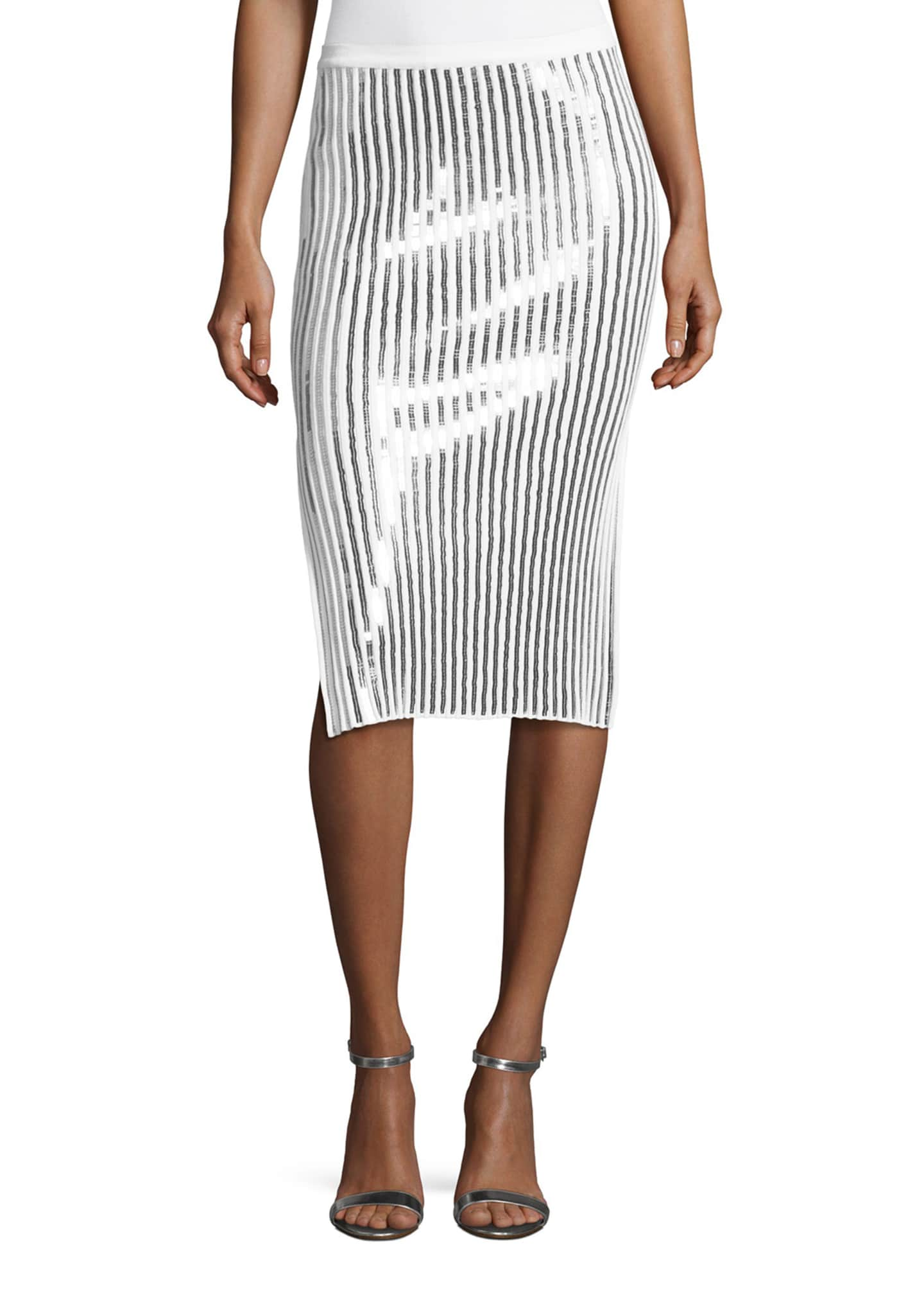 Cedric Charlier Sequin-Striped Knit Skirt