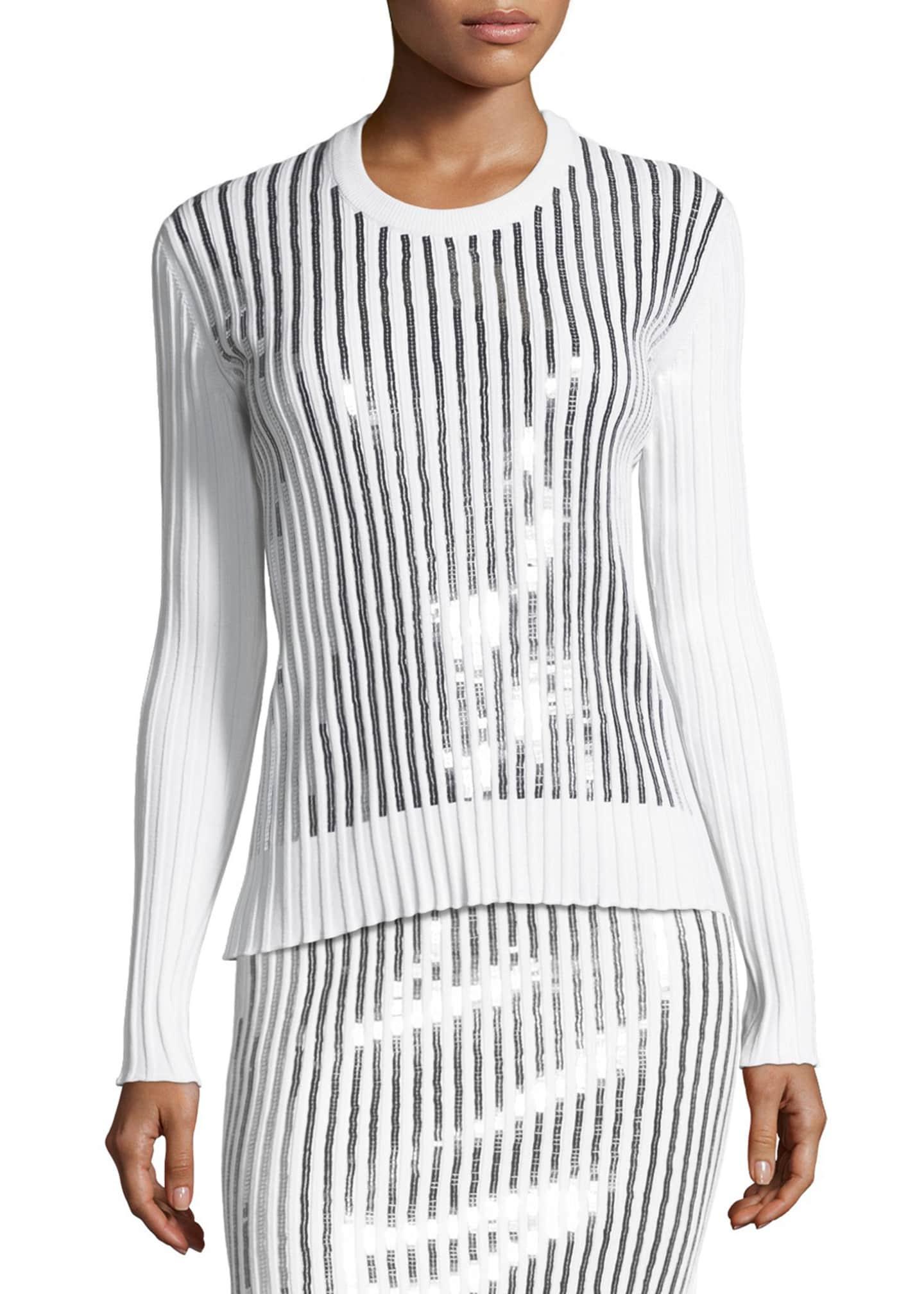 Cedric Charlier Sequin-Striped Crewneck Sweater