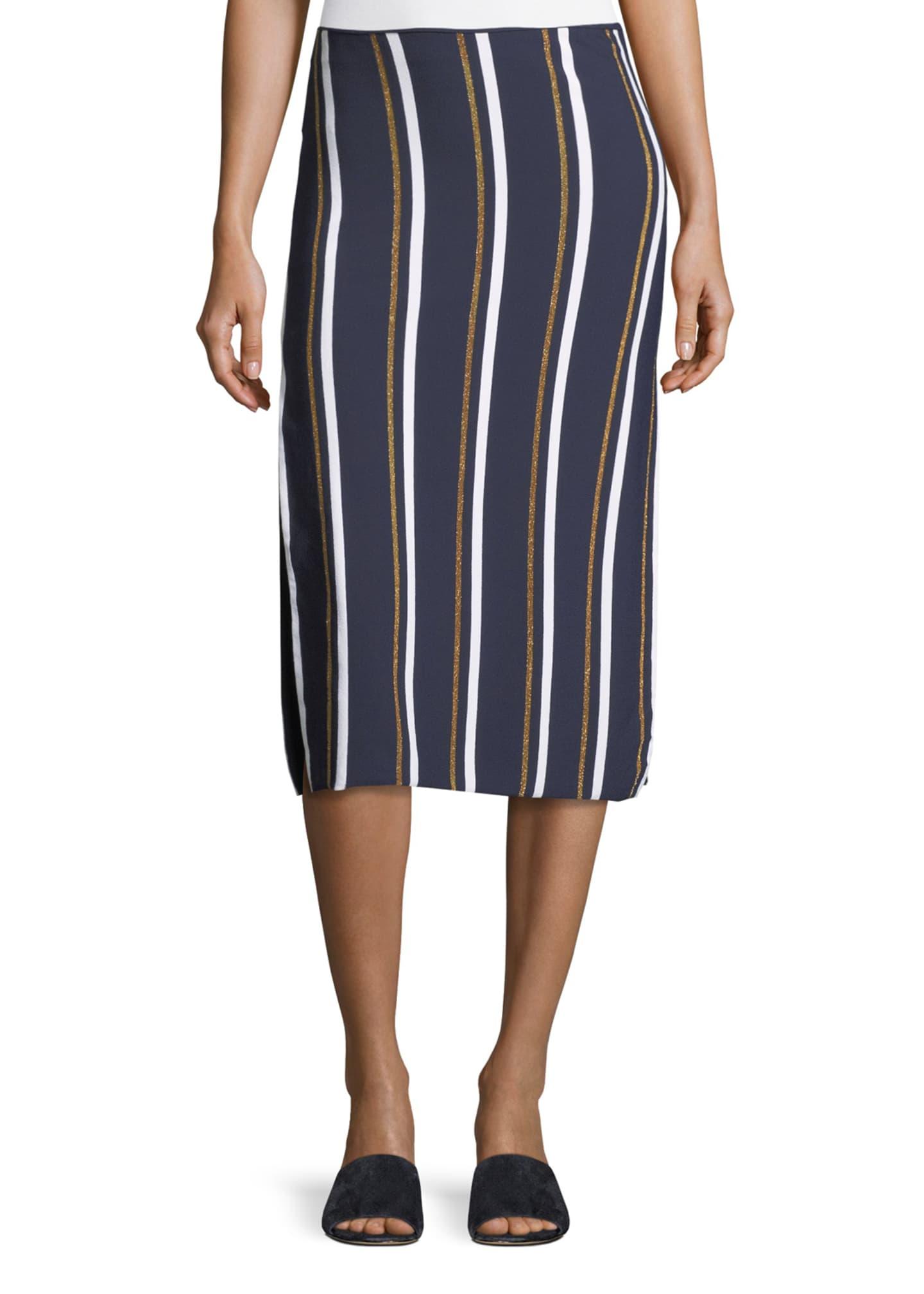 Cedric Charlier Metallic Stripe Knit Midi Skirt