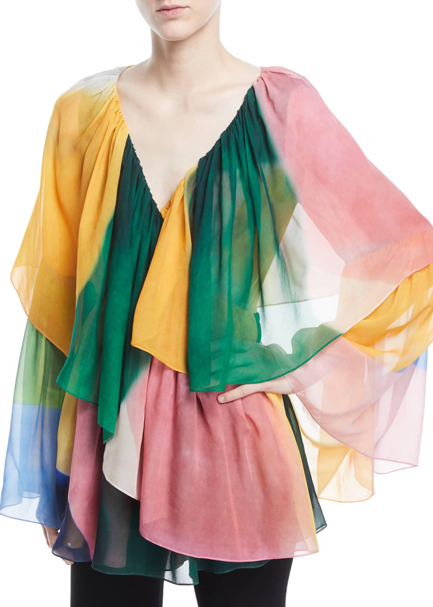 Rosetta Getty V-Neck Tie-Dye Wrap Top