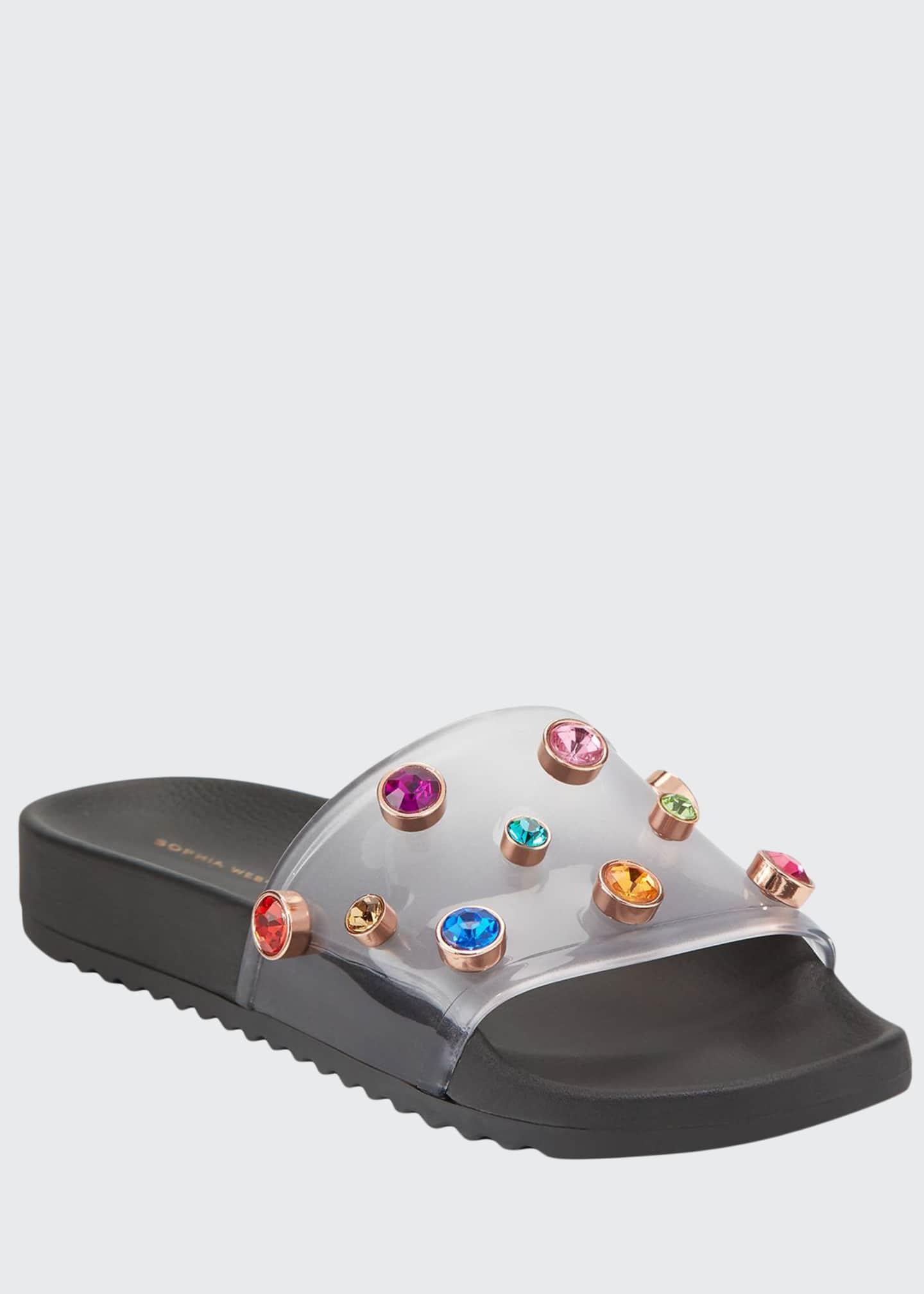 Sophia Webster Dina Flat Slide Pool Sandals, Black