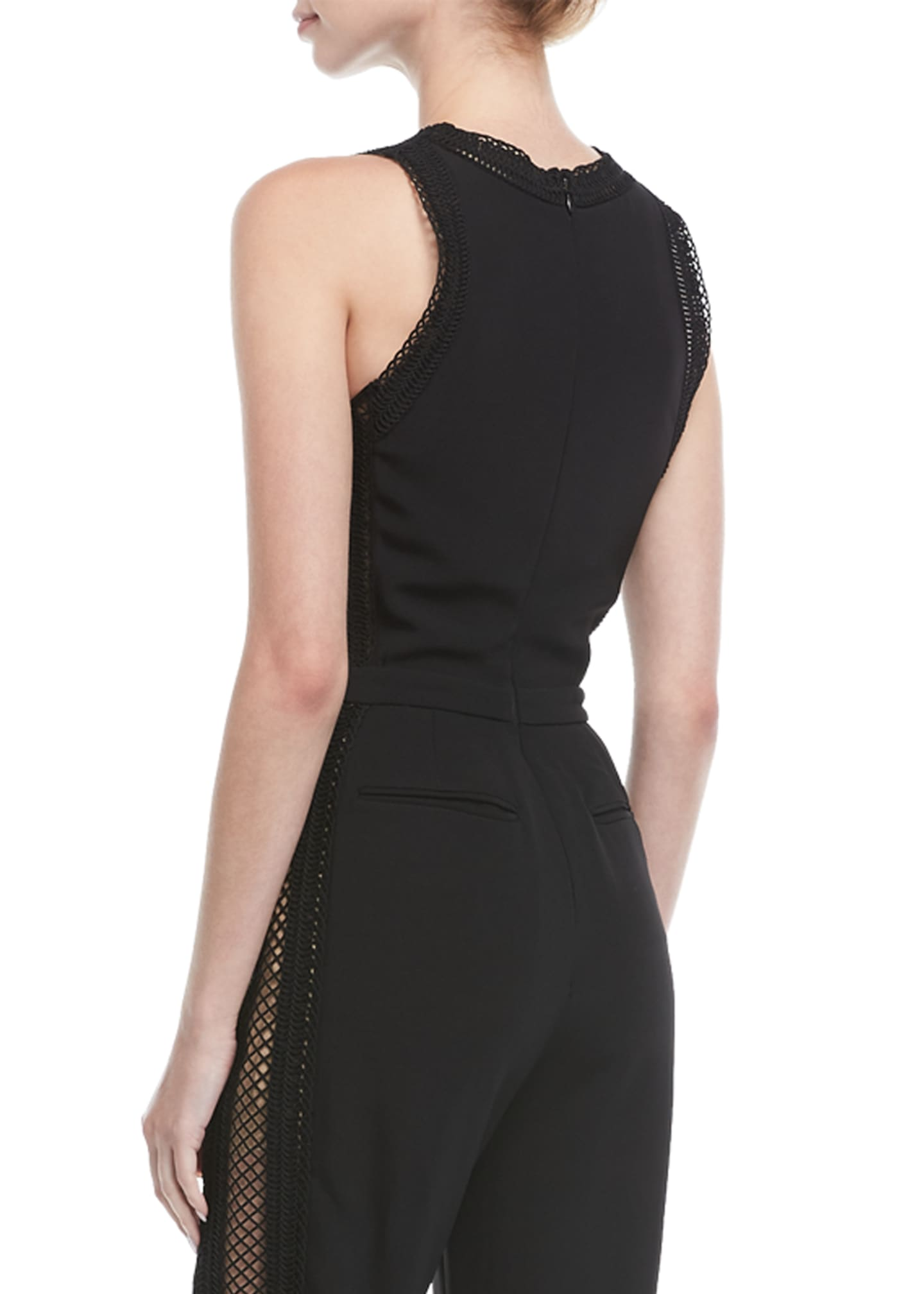 Image 2 of 2: Sleeveless Net-Trim Jumpsuit