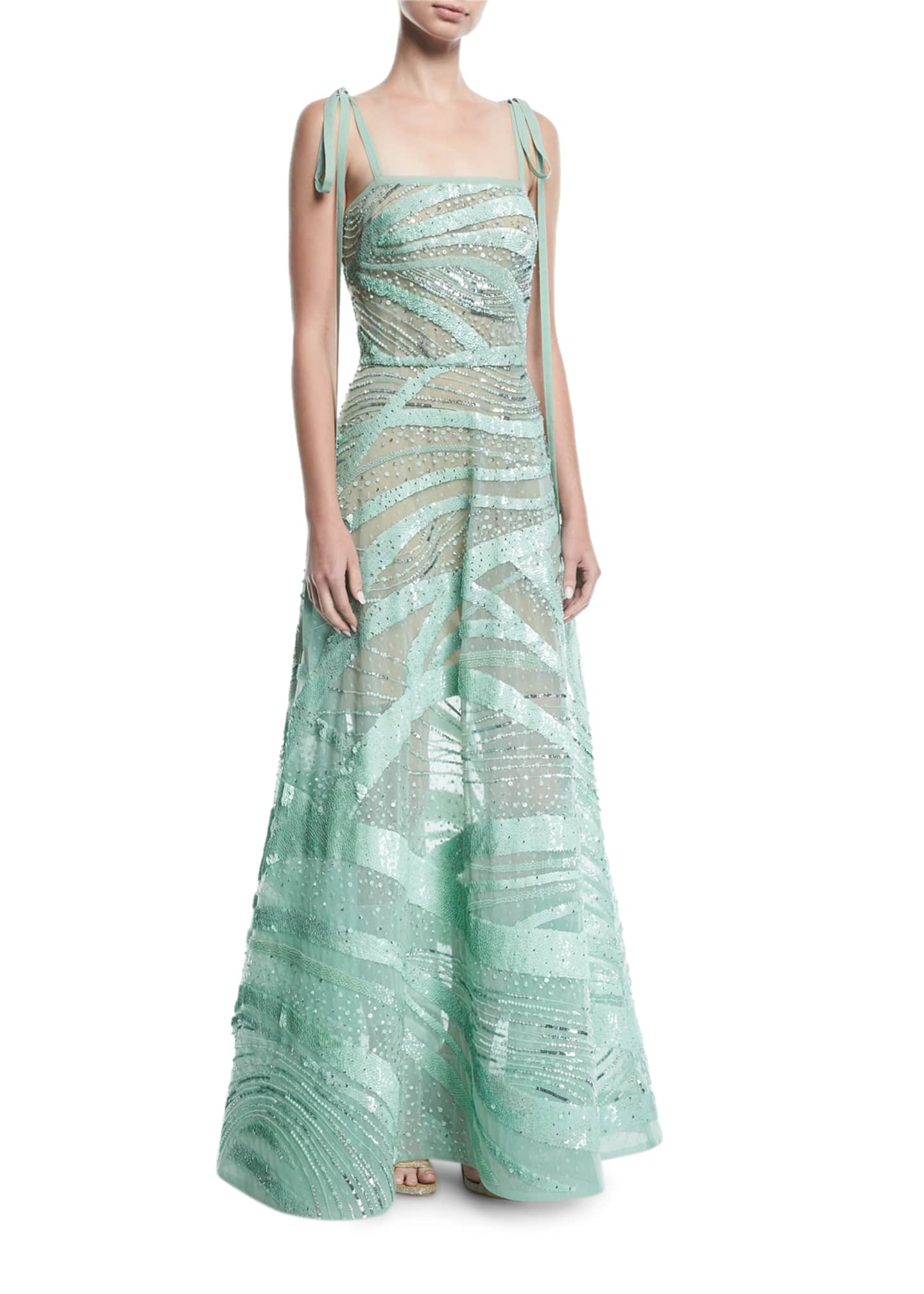 Image 1 of 2: Beaded Tie-Shoulder Gown