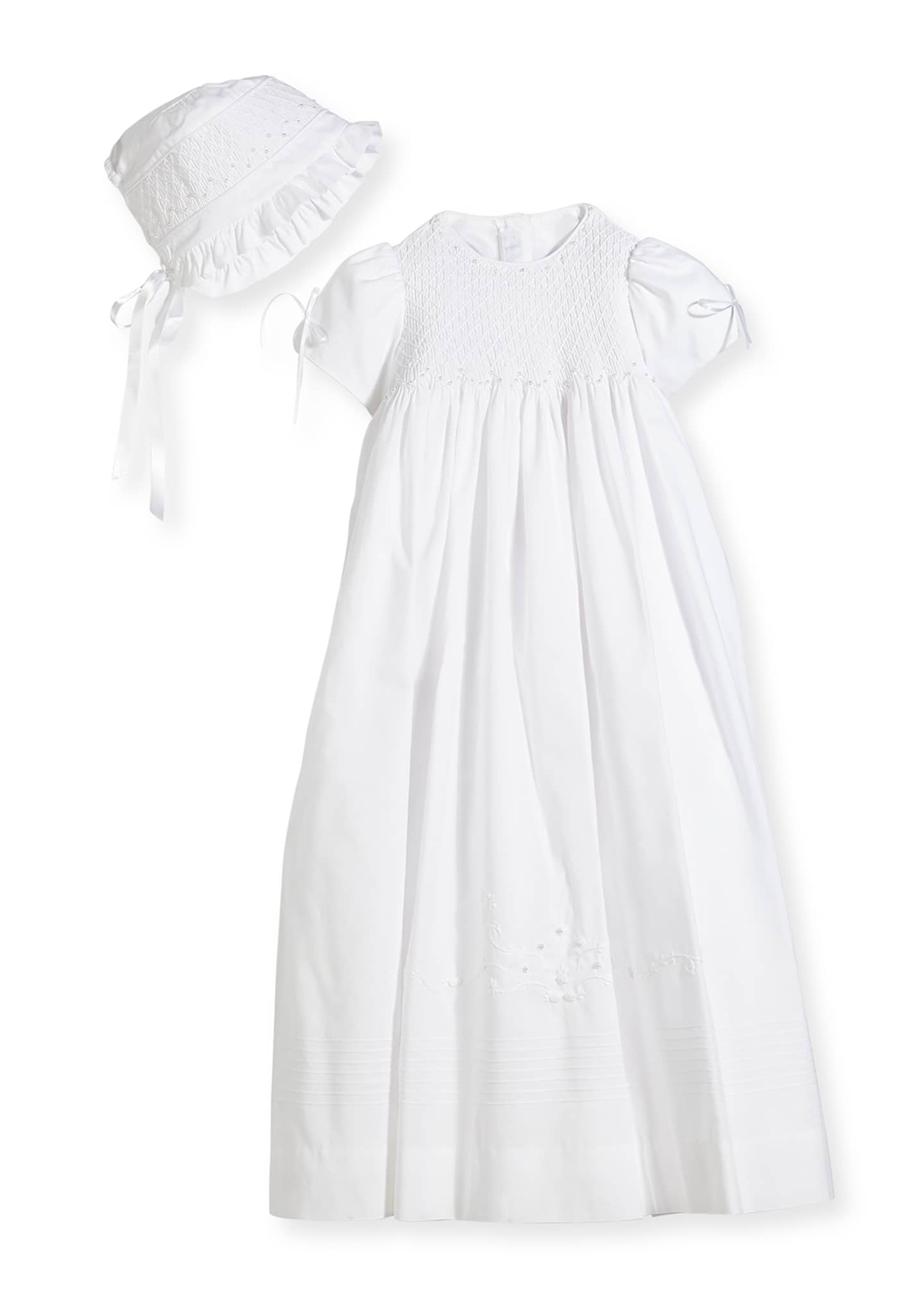 Image 1 of 2: Pearls Smock Embroidered Cotton Christening Gown w/ Bonnet, White, Size 6-12 Months