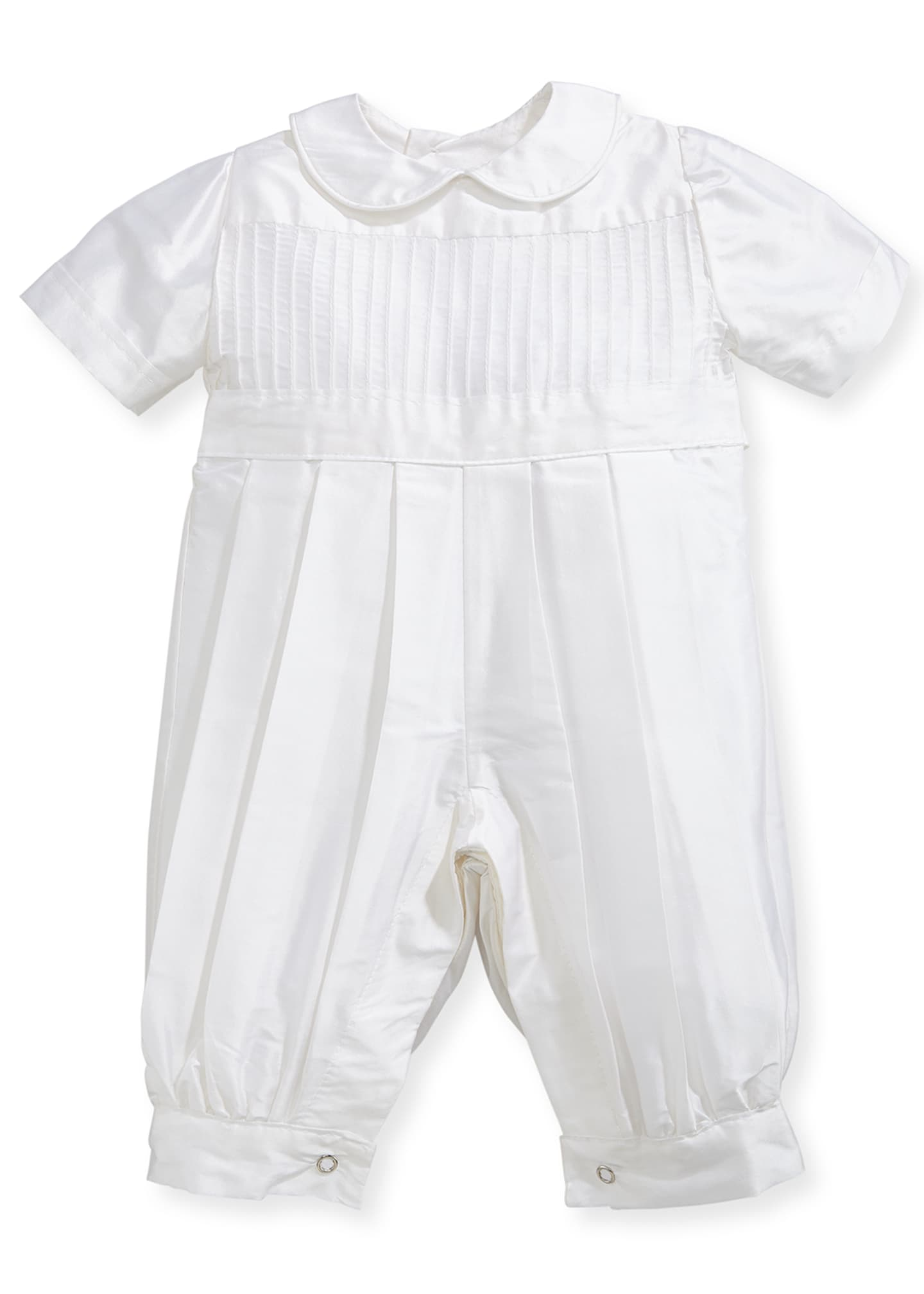 Isabel Garreton Boys' Tucks Silk Christening Playsuit, Size