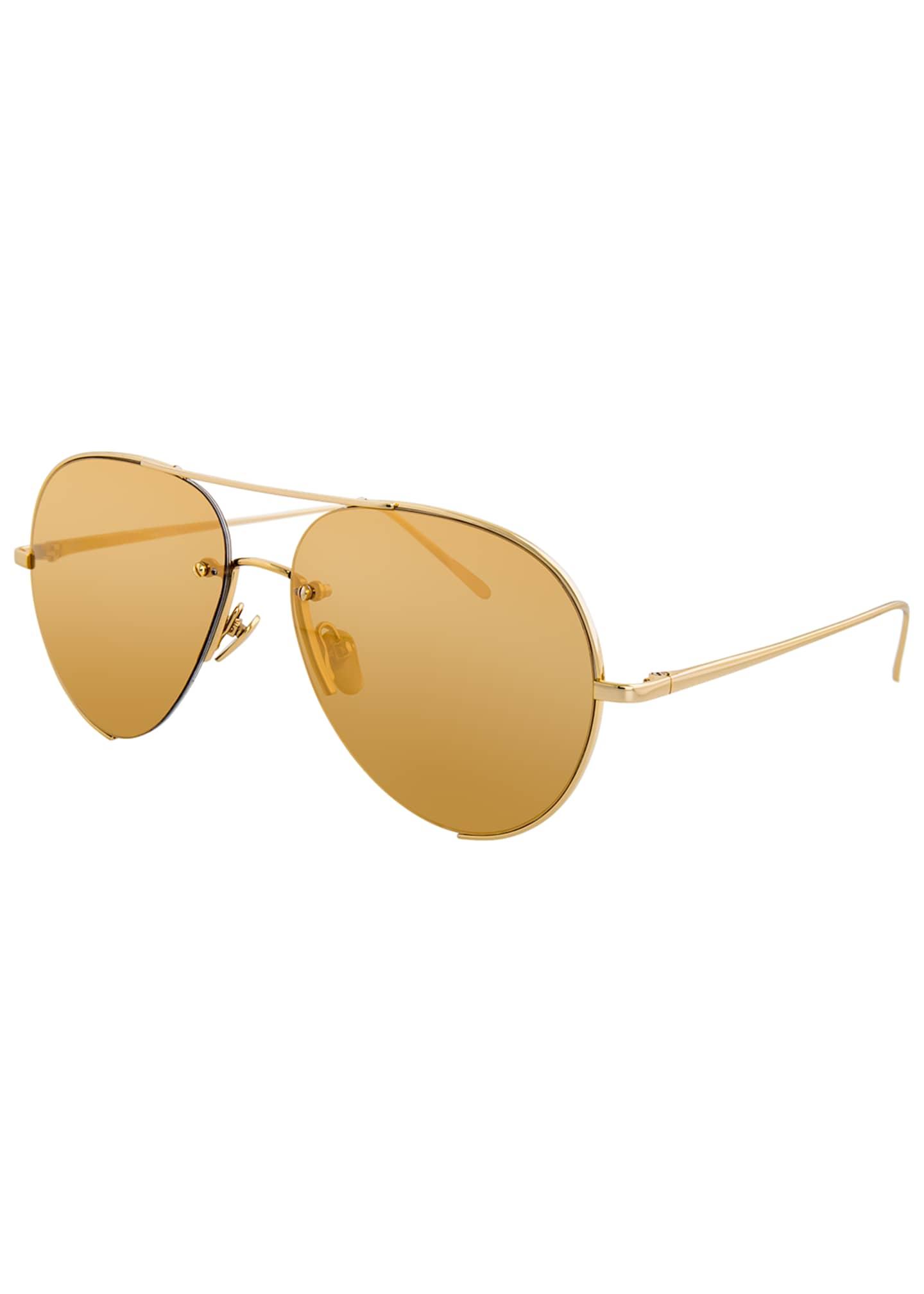 Linda Farrow Semi-Rimless Aviator Sunglasses, Yellow Pattern