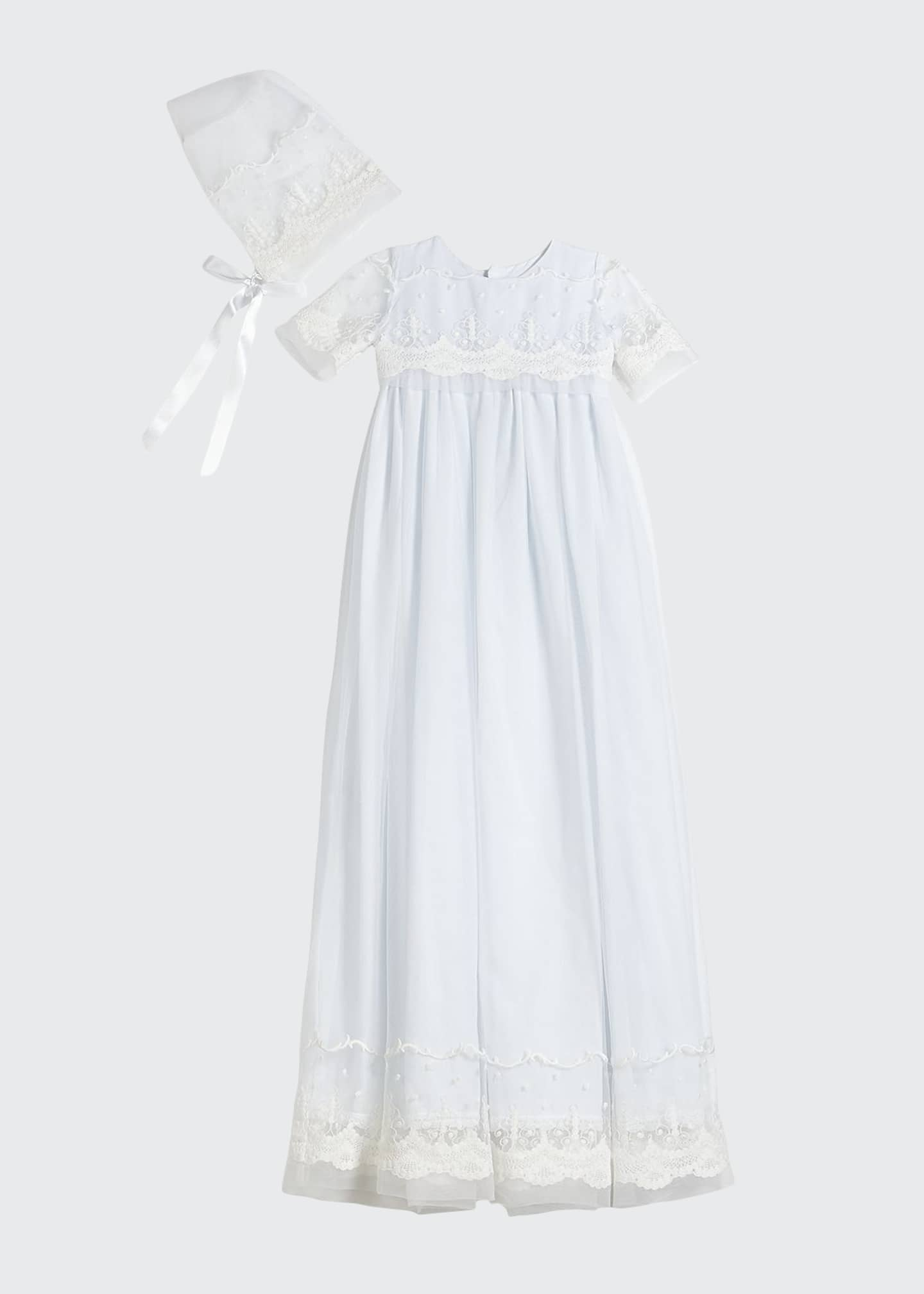 Isabel Garreton Blessing Embroidered Tulle Extra-Long Christening