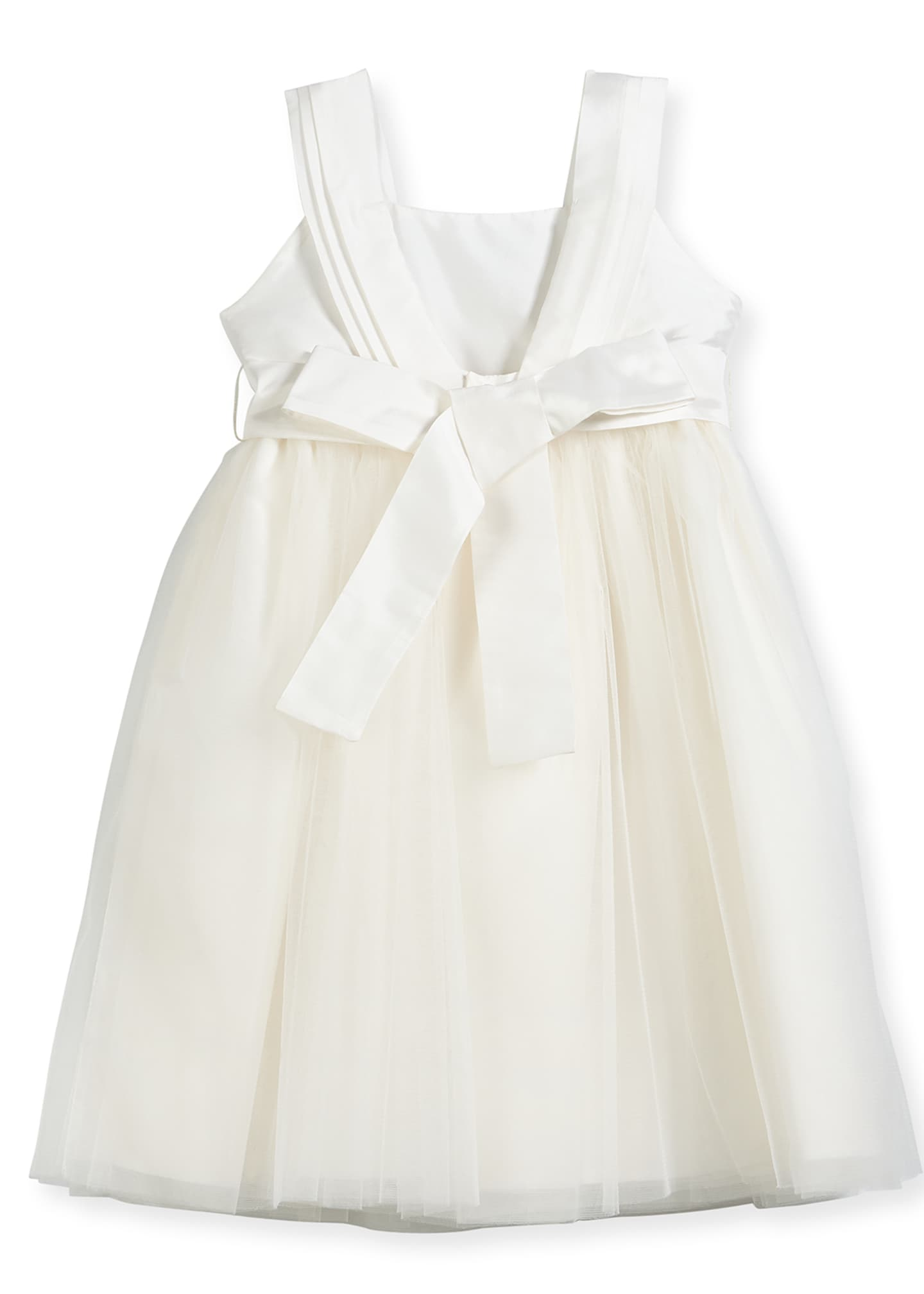 Image 2 of 2: Venice Pleated Straps V-Back Dress, Ivory, Size 4-6