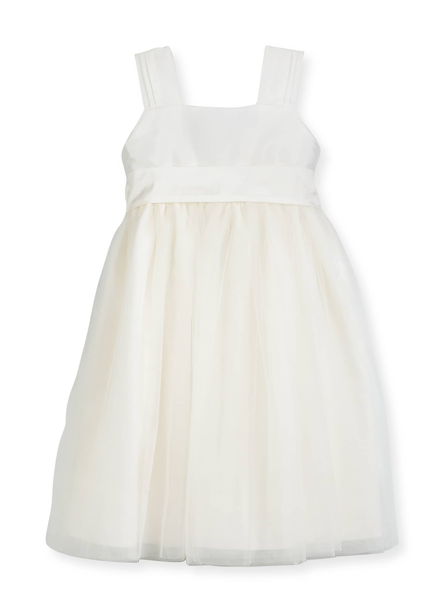 Image 1 of 2: Venice Pleated Straps V-Back Dress, Ivory, Size 4-6