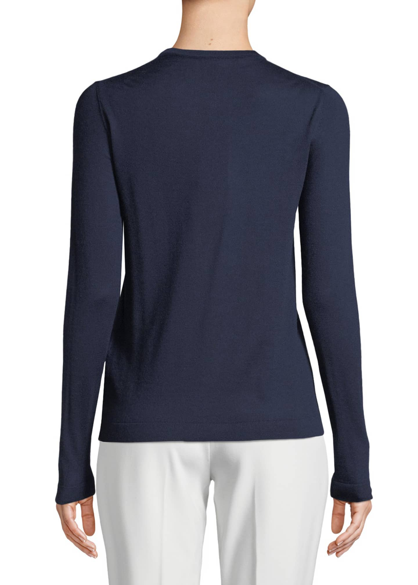 Image 2 of 2: Crewneck Long-Sleeve Cashmere Jersey Sweater