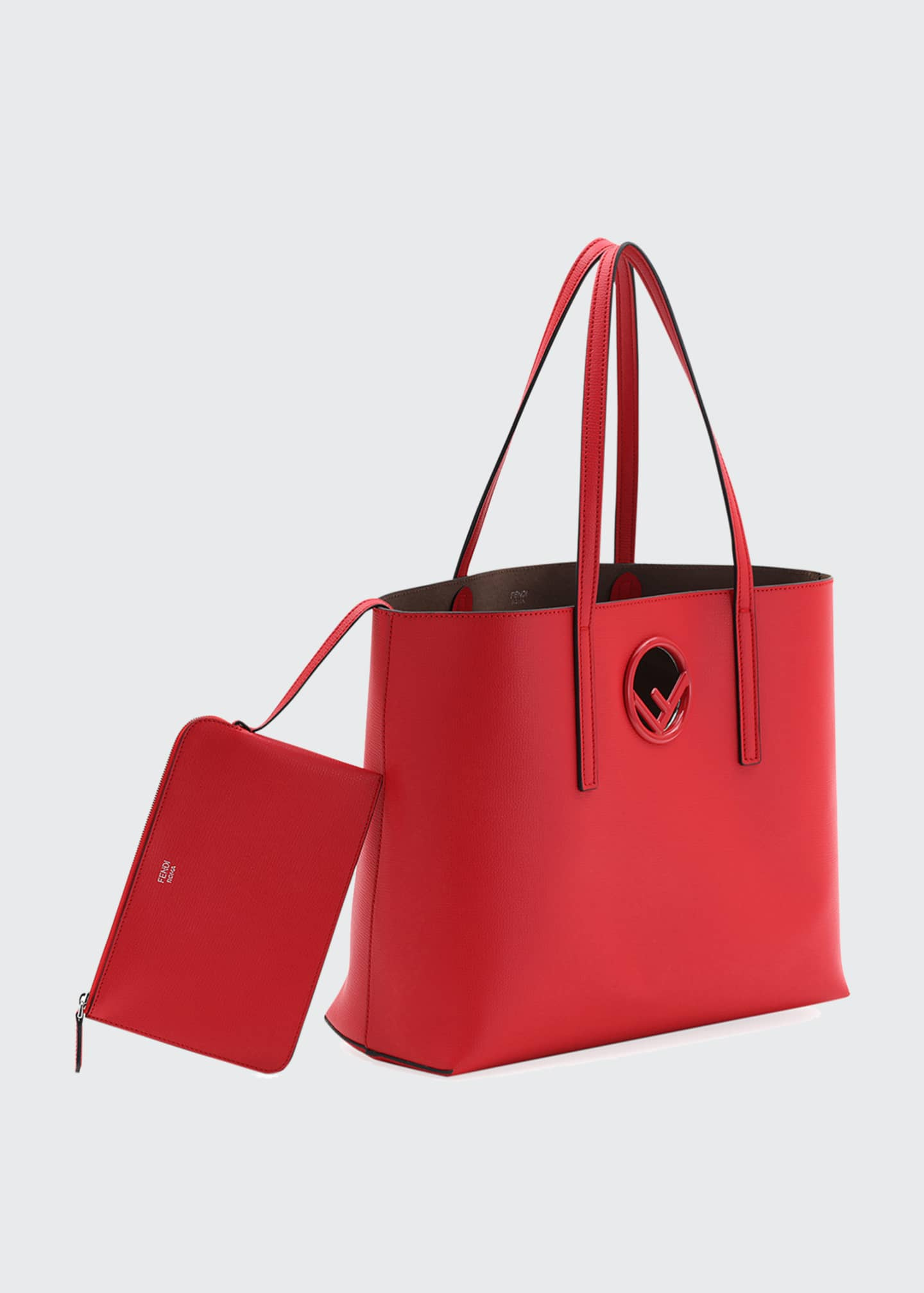 Image 4 of 4: F Logo Calf Leather Shopping Tote Bag