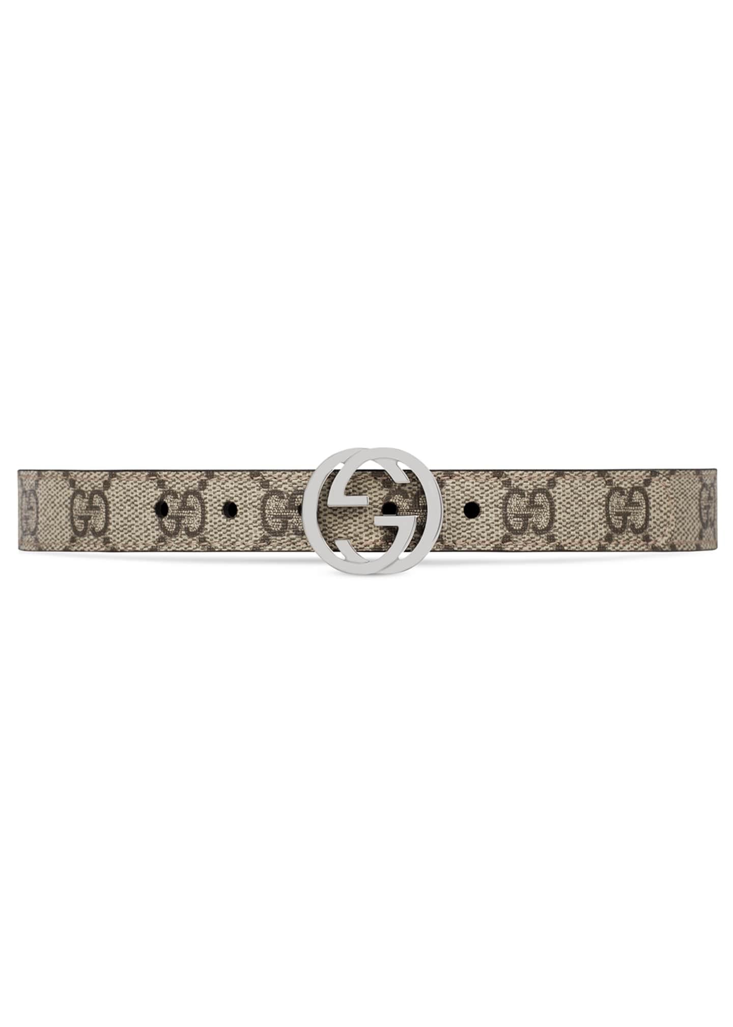 Gucci Kids' GG Supreme Belt w/ Interlocking G