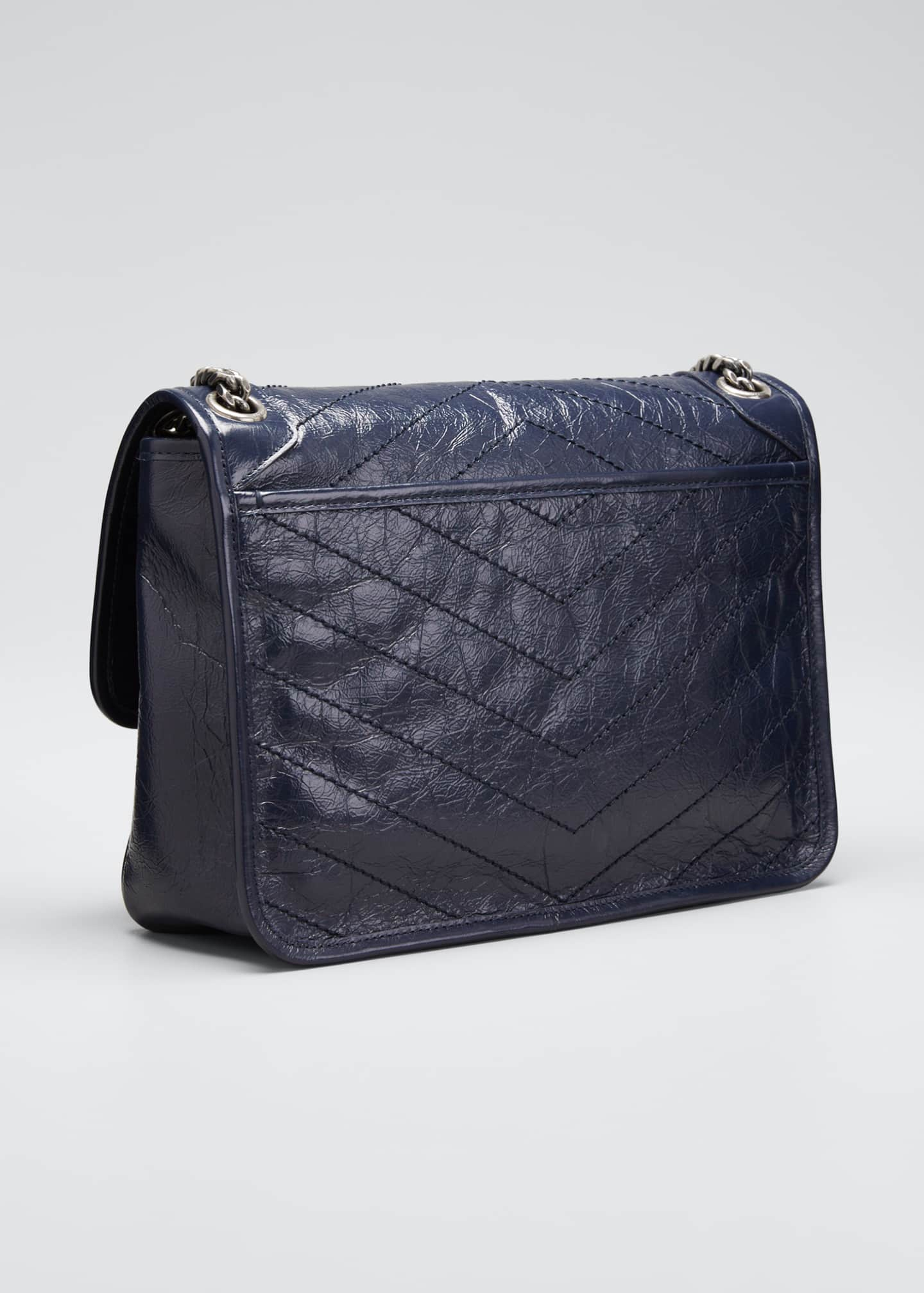 Image 3 of 5: Niki Medium Crinkled Calf Flap-Top Shoulder Bag