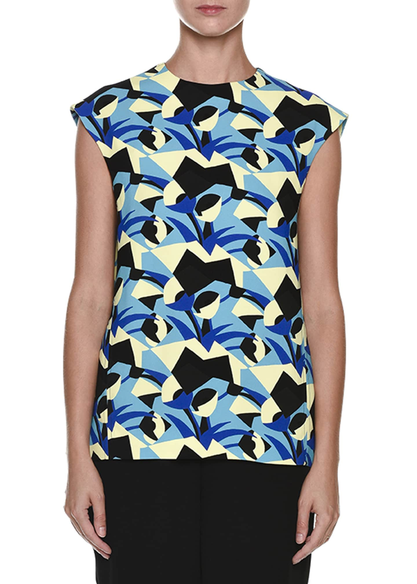 Marni Geometric-Print Cap-Sleeve Top