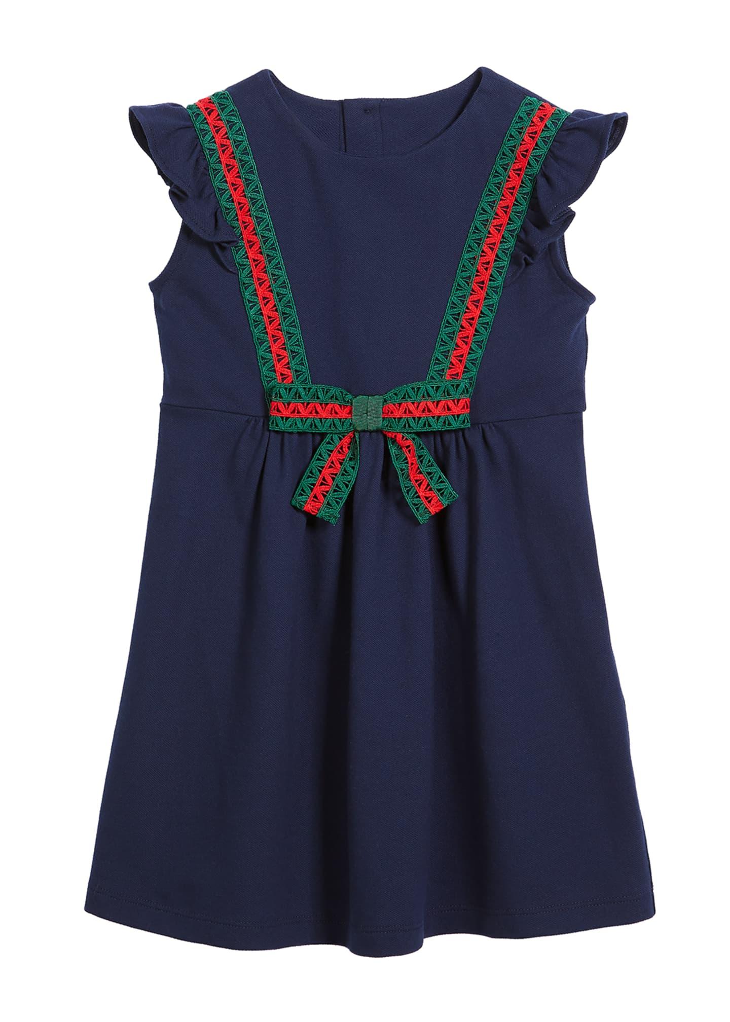 Gucci Cotton-Stretch Piquet Dress w/ Lace Web Trim,