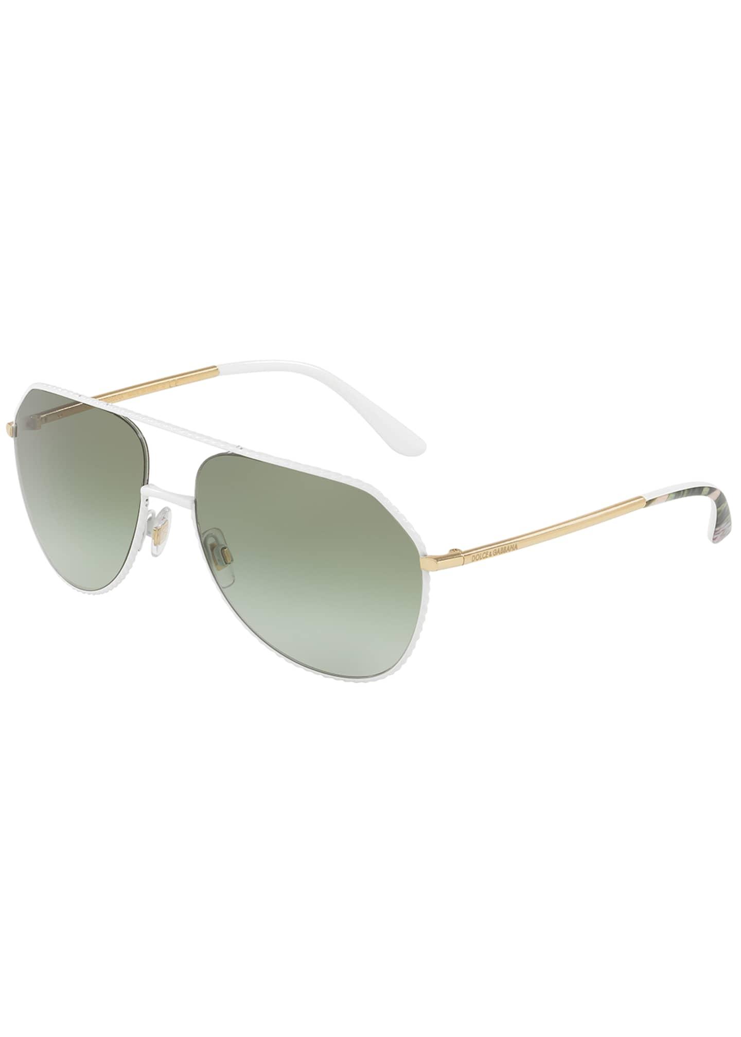 Dolce & Gabbana Braided Metal Aviator Sunglasses