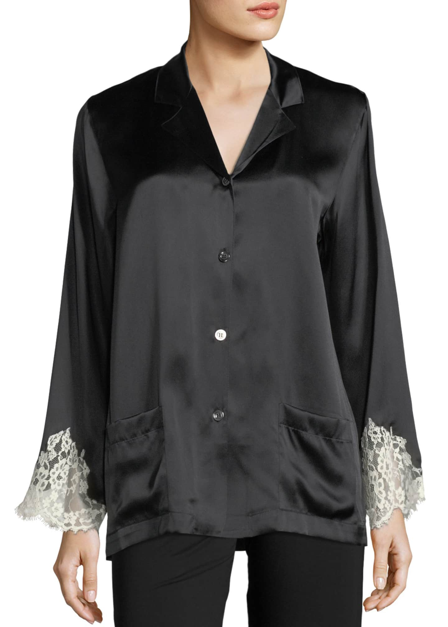 Image 1 of 2: Lace-Trim Silk Button-Front Lounge Top