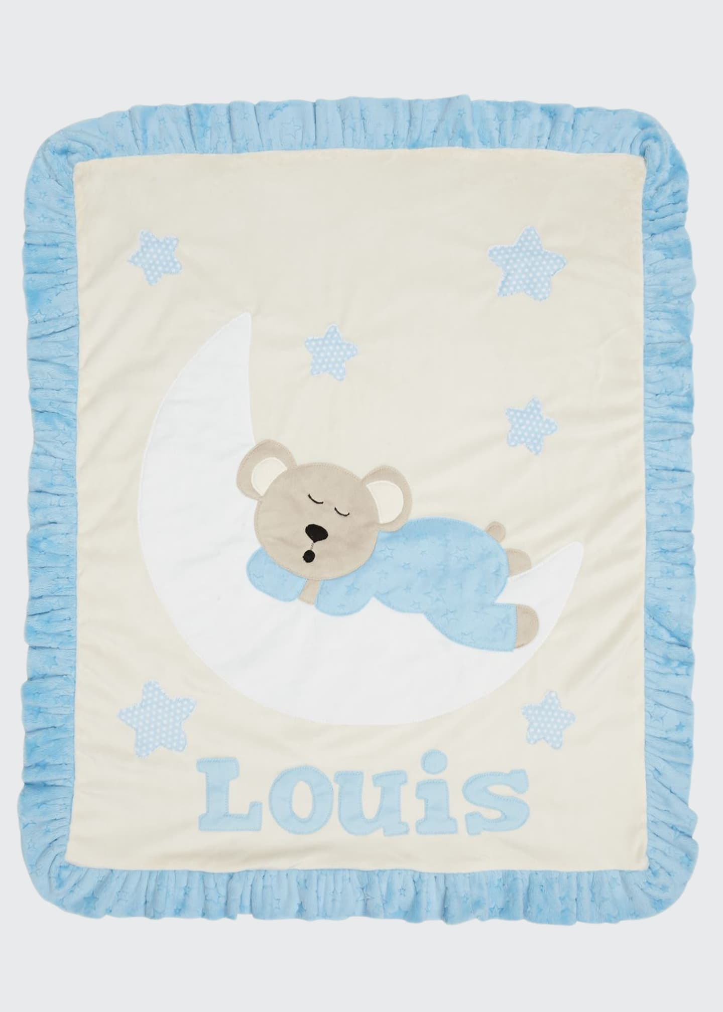 Boogie Baby Personalized Goodnight Teddy Plush Blanket, Blue