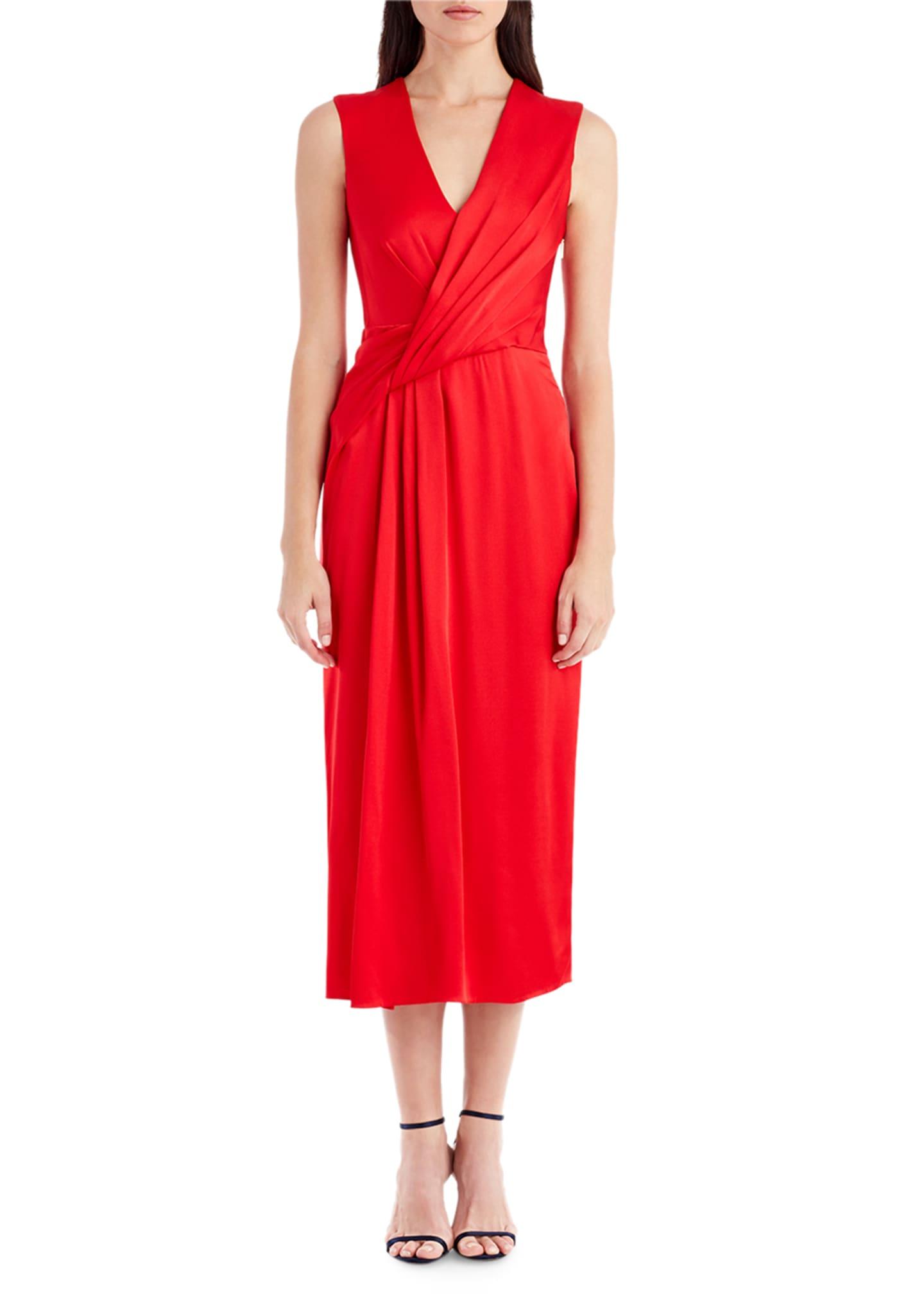 Jason Wu Sleeveless Wrap-Front Crepe Cocktail Dress