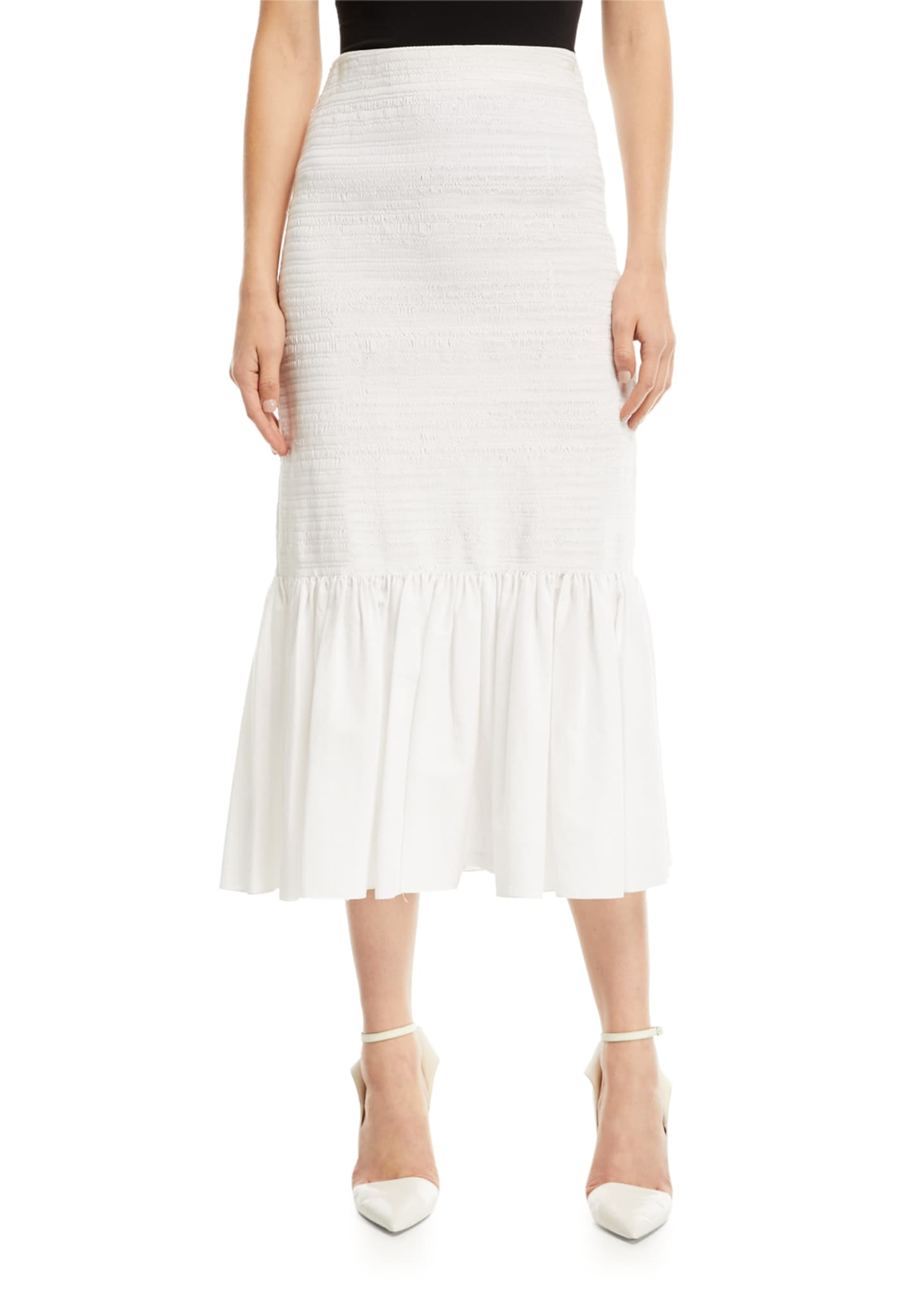 CALVIN KLEIN 205W39NYC Fitted Cotton Midi Skirt