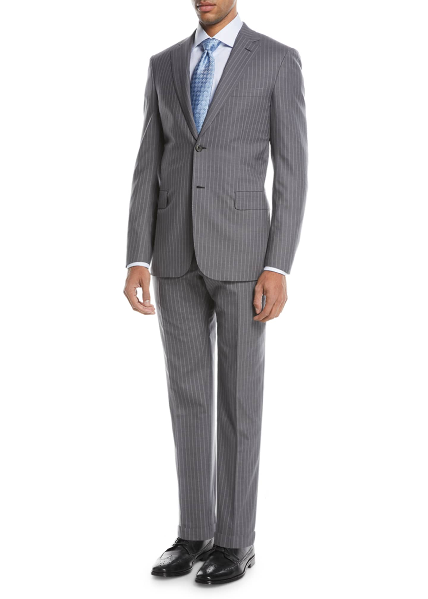 Brioni Super 150s Wool Twin-Stripe Two-Piece Suit