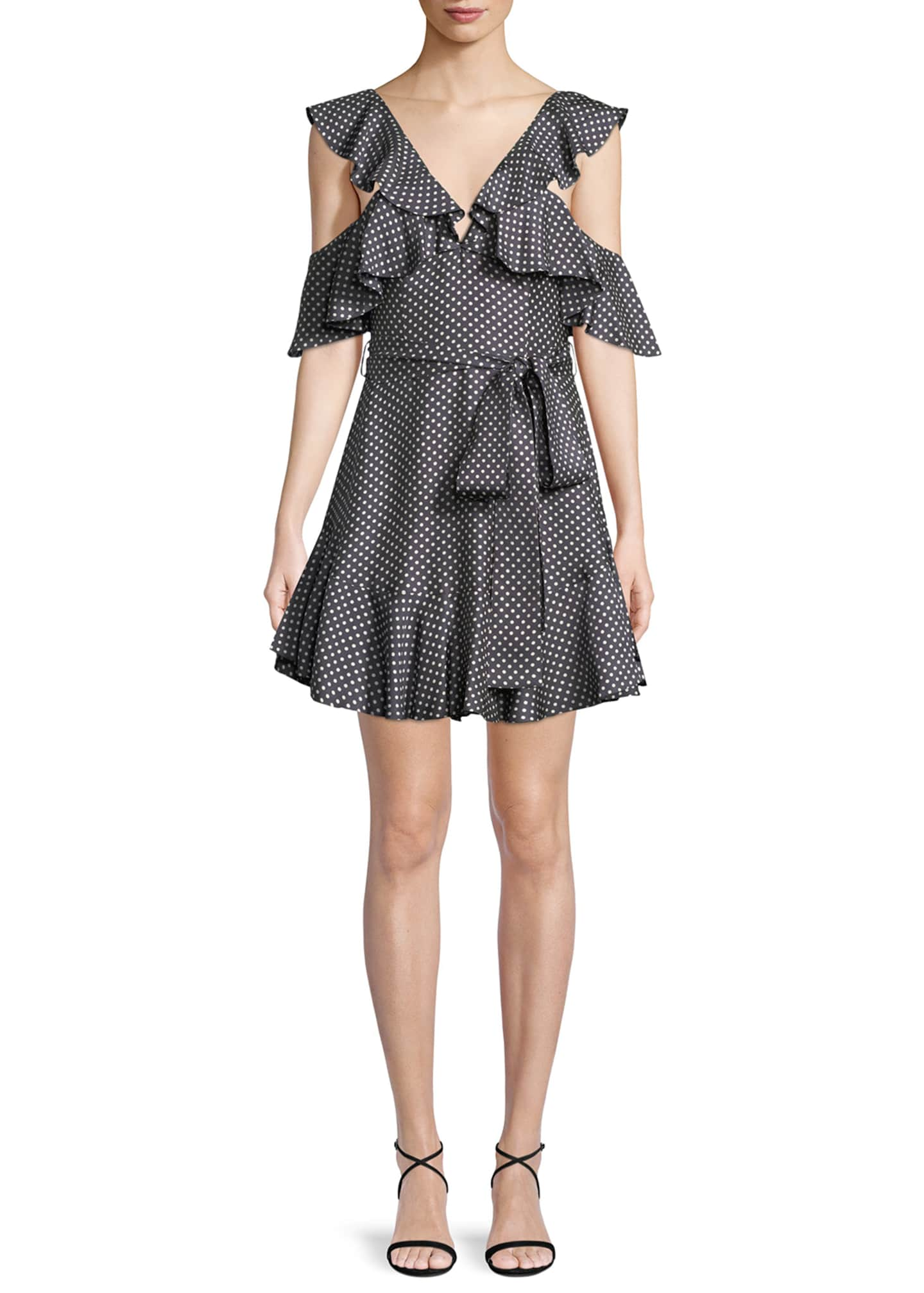 Zimmermann Painted Heart V-Neck Short Dress with Lace