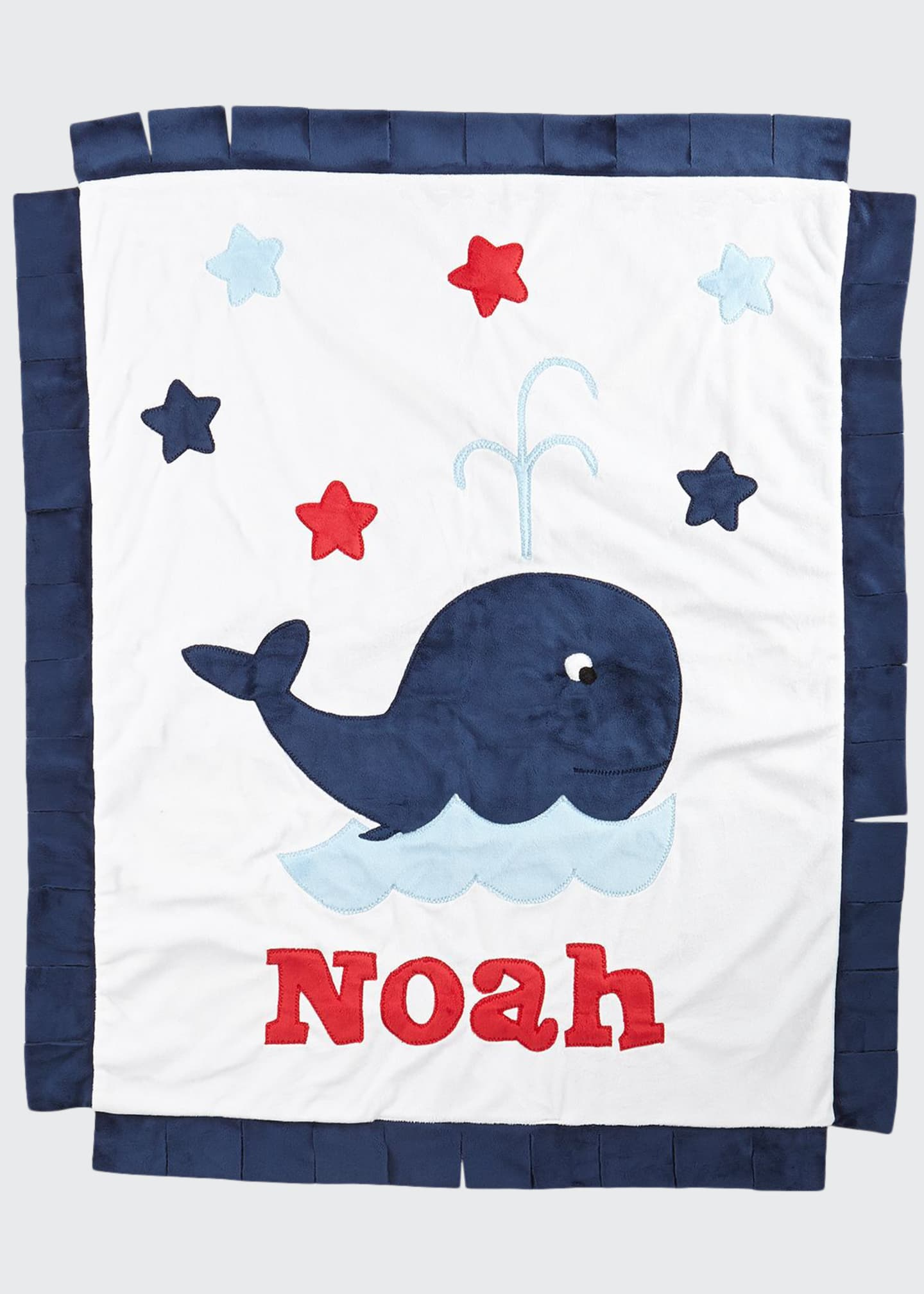 Boogie Baby Personalized Whale Plush Blanket, White/Navy