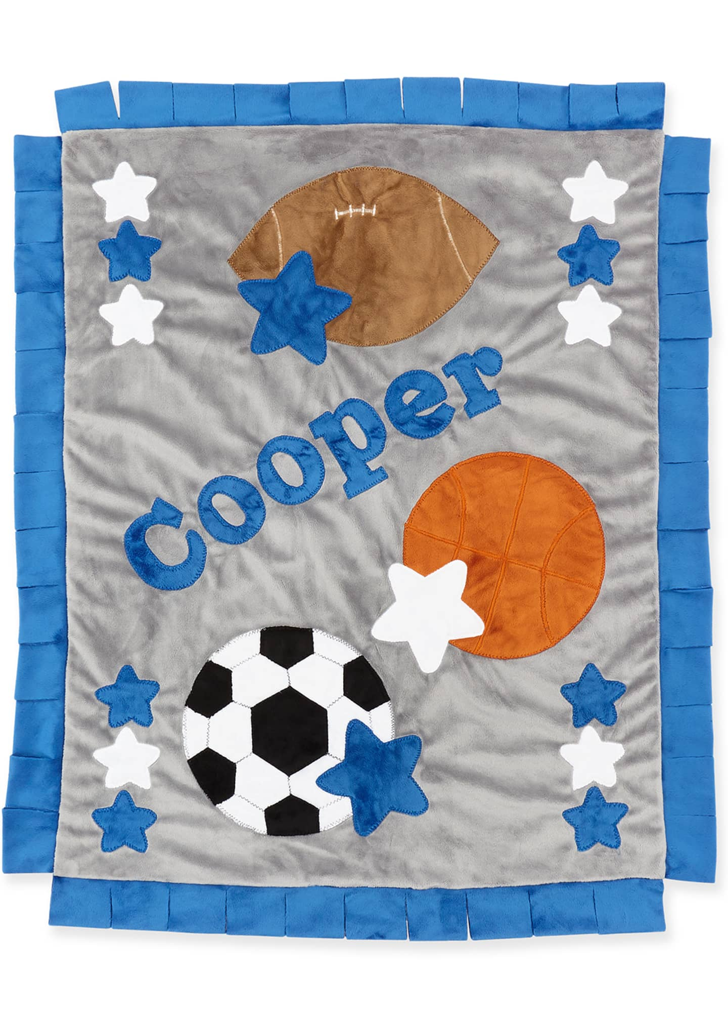 Image 2 of 2: Personalized Good Sport Plush Blanket, Gray/Blue