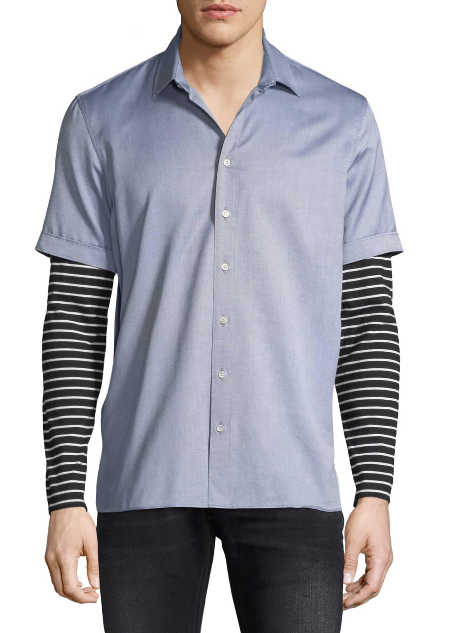 Neil Barrett Striped Jersey-Trim Shirt