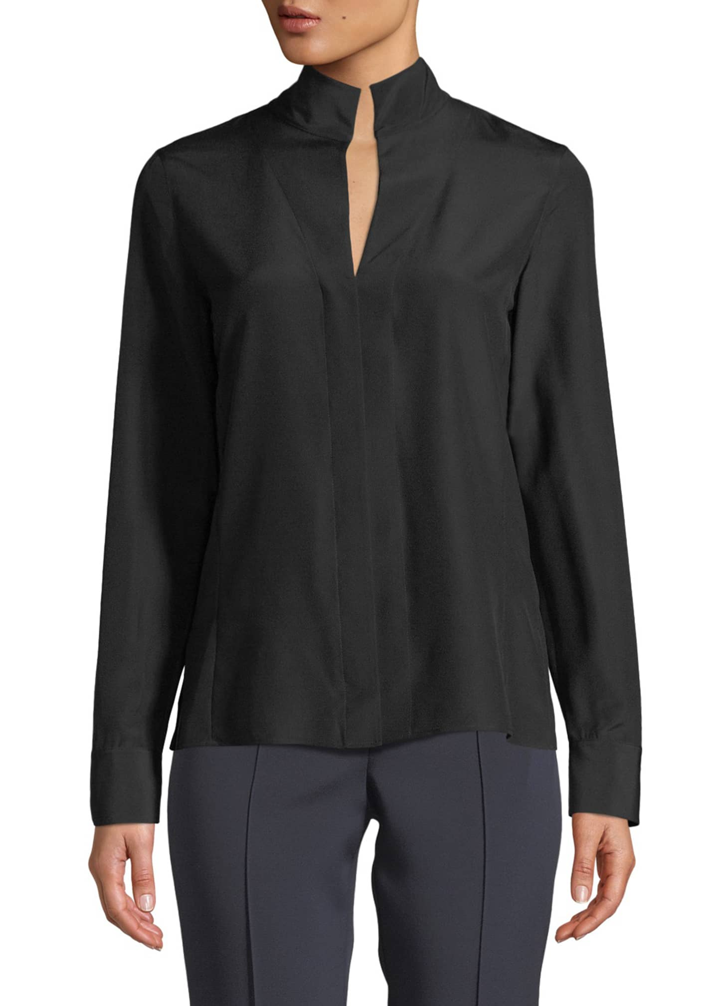 Image 1 of 2: Split-Neck Silk Button-Front Blouse