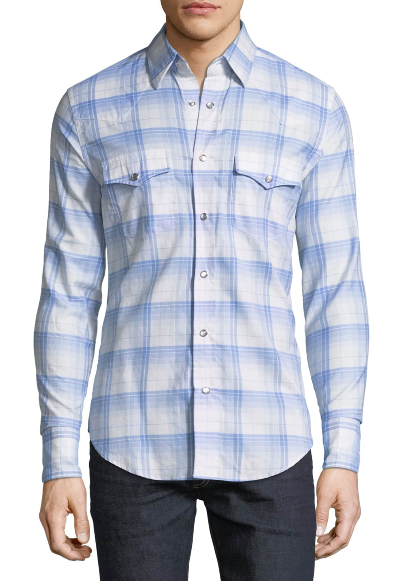 TOM FORD Western Plaid Cotton Sport Shirt