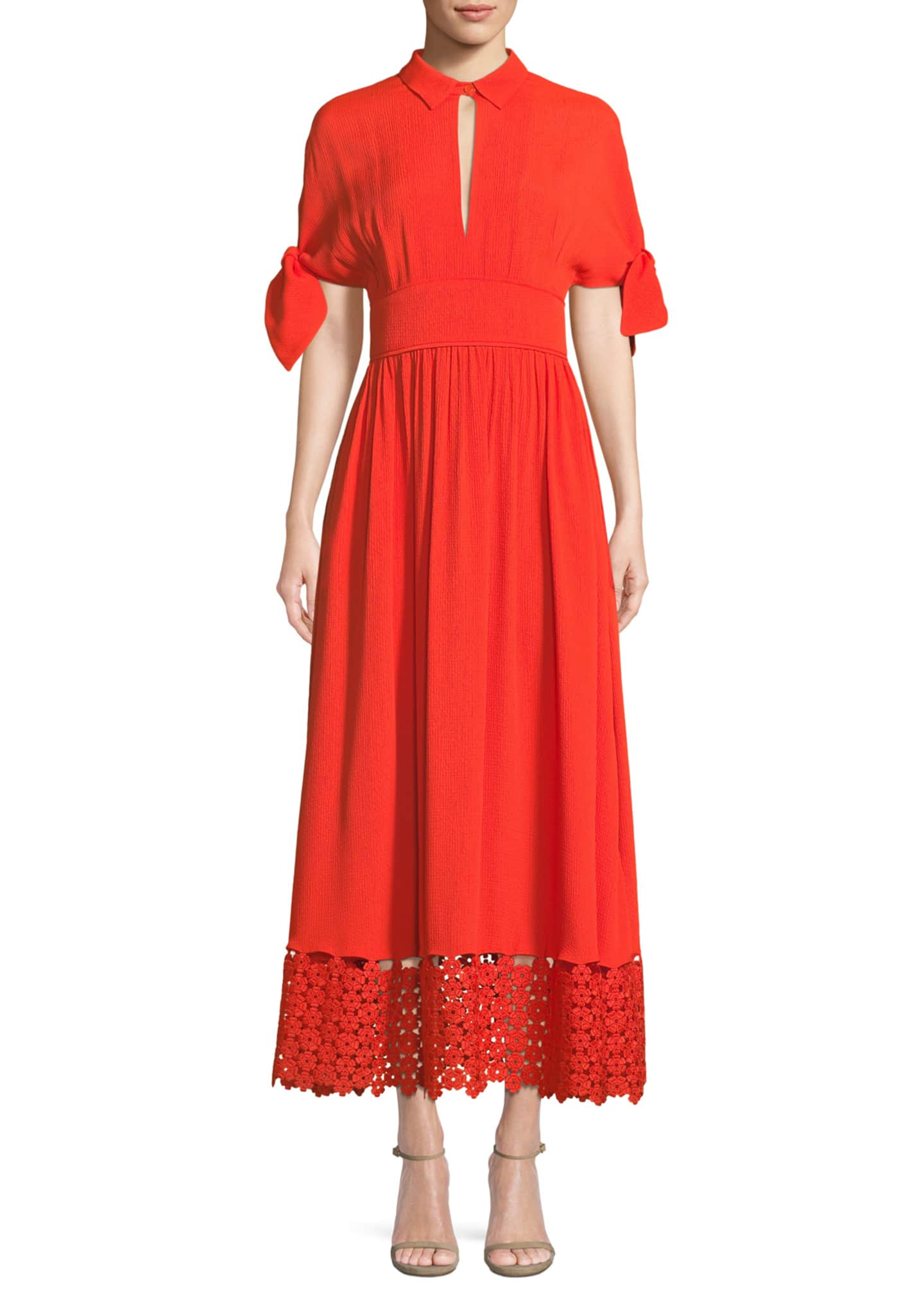 Lela Rose Textured Silk Cloque Tie-Sleeve Dress with