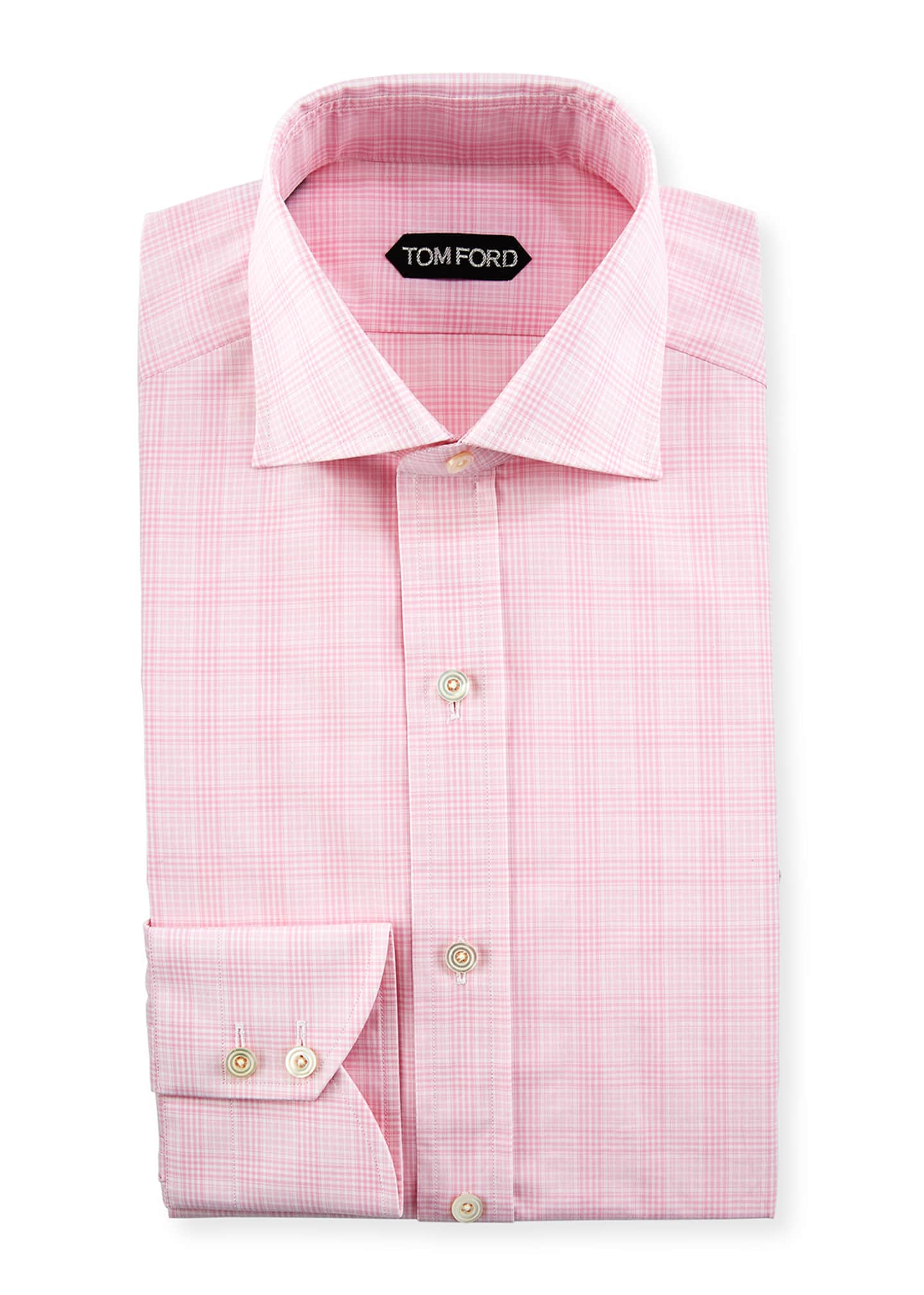 TOM FORD Compressed Plaid Cotton Dress Shirt