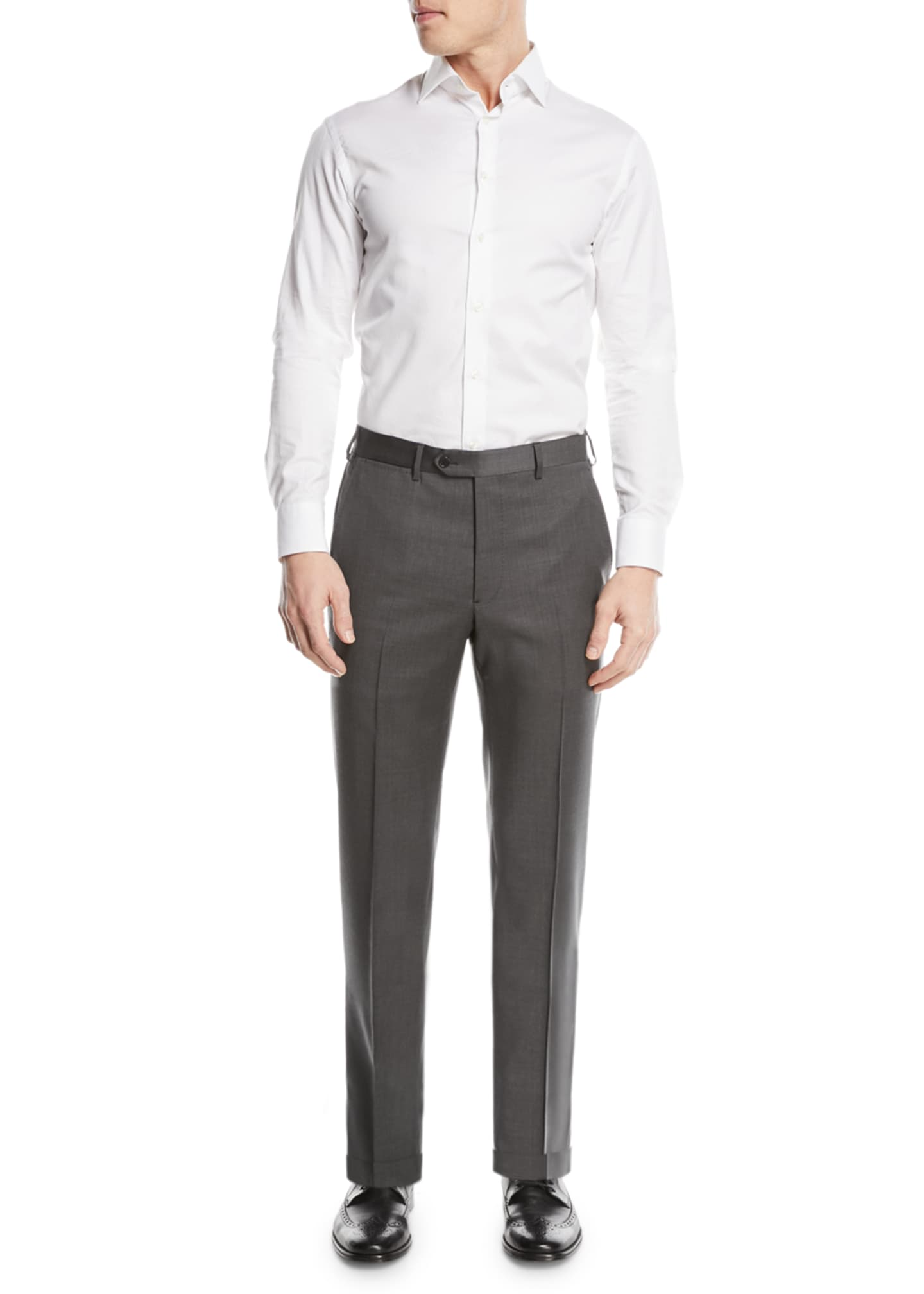 Image 3 of 3: Basic Flat-Front Wool Trousers