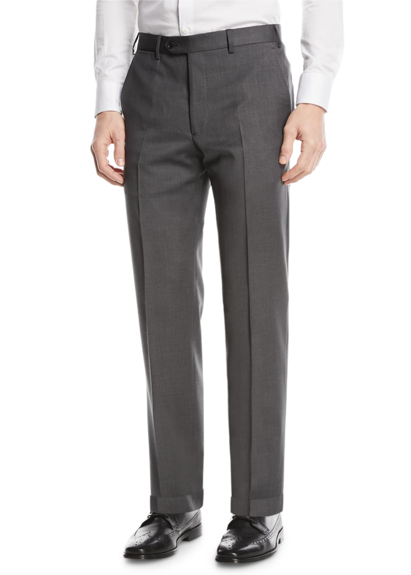 Image 1 of 3: Basic Flat-Front Wool Trousers