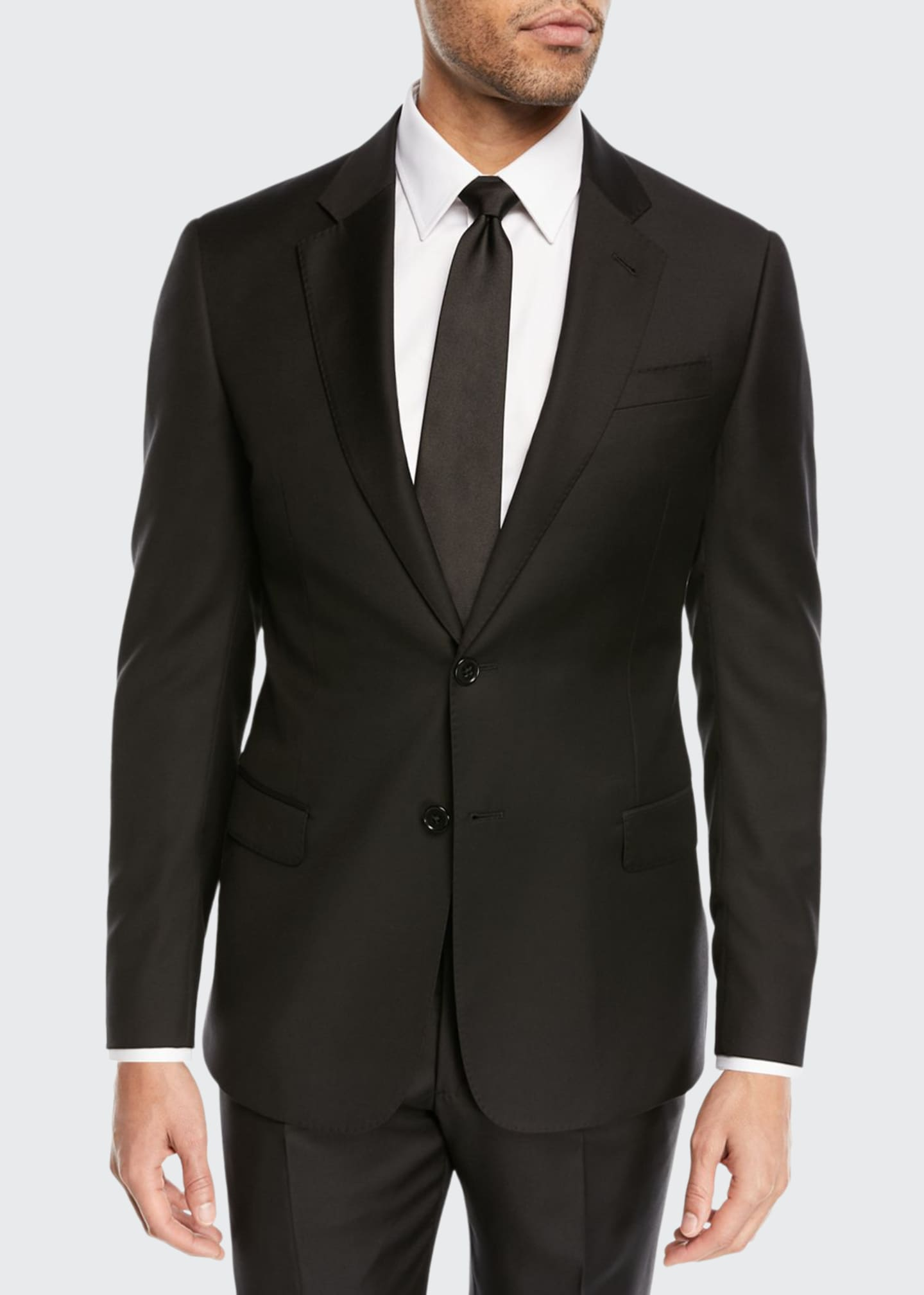 Emporio Armani Super 130s Wool Two-Piece Suit, Black