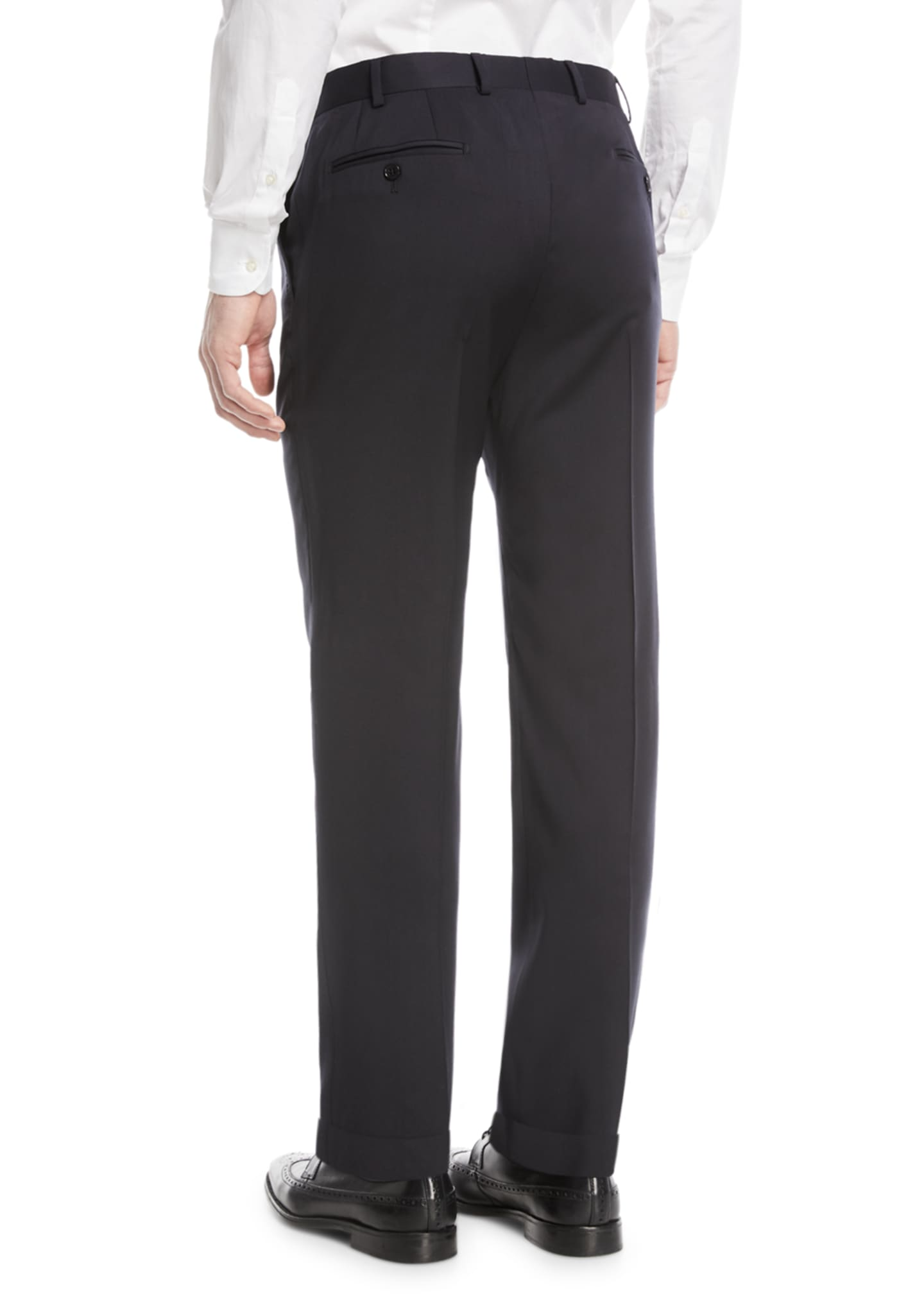 Image 2 of 3: Basic Flat-Front Wool Trousers
