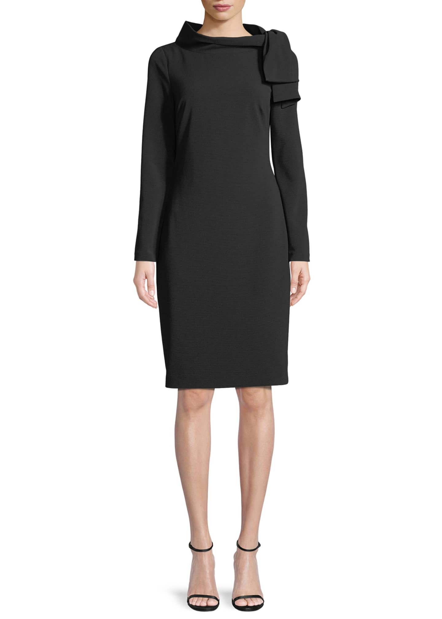 Badgley Mischka Collection Long-Sleeve Self-Tie Sheath Dress