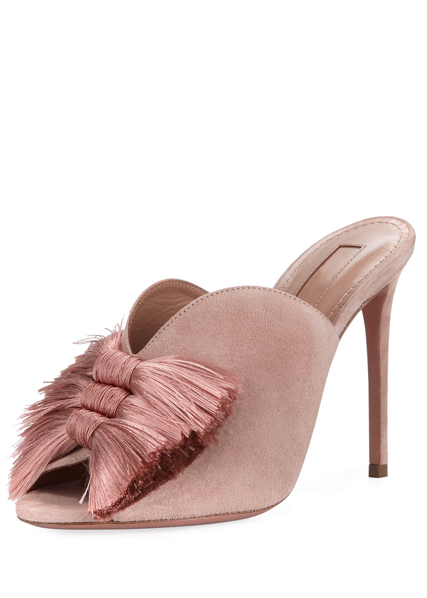 Aquazzura Lotus Blossom Tassel-Trim Mule Sandals