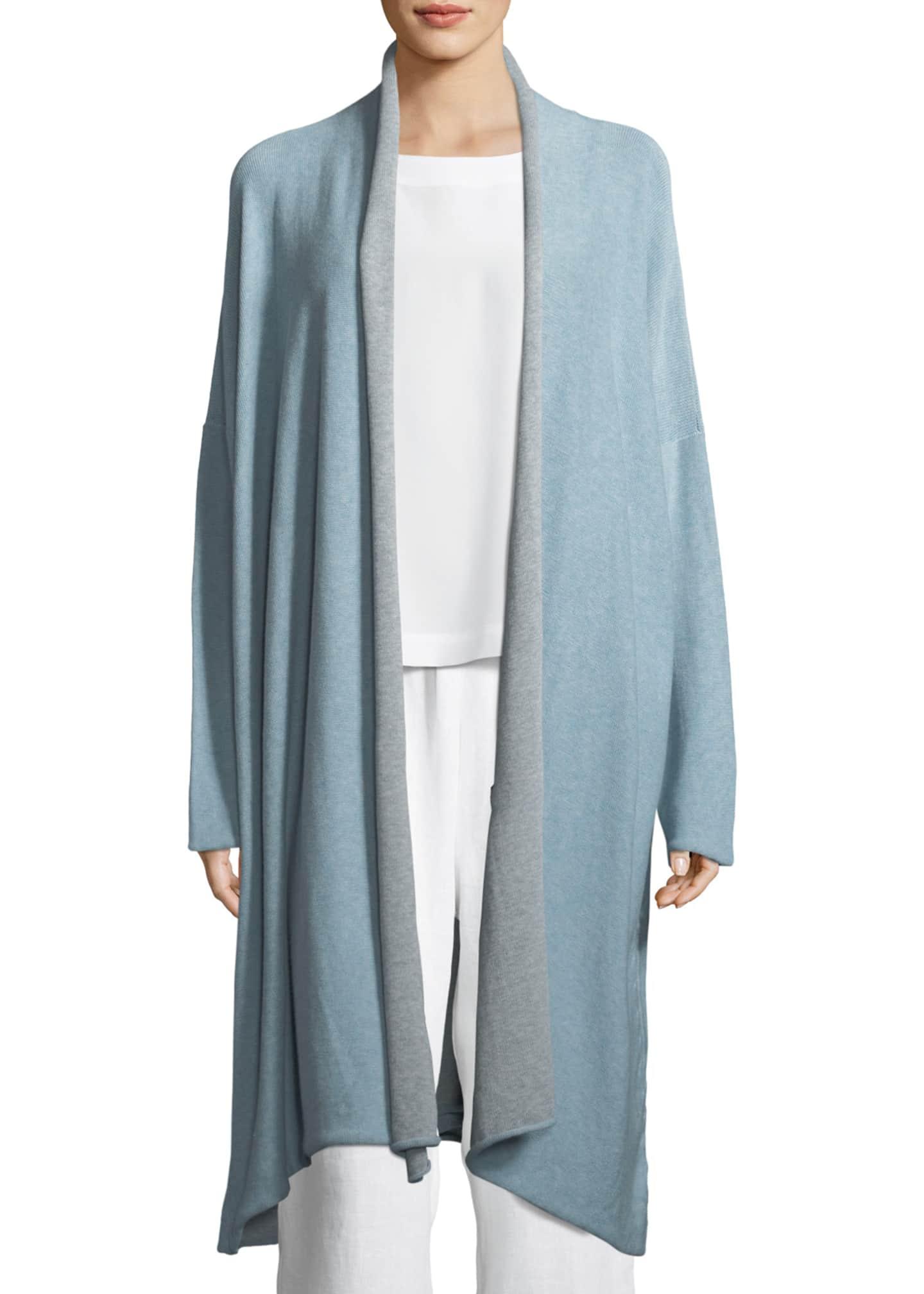 Eskandar Two-Tone Lightweight Cotton Scrunched Long Shawl